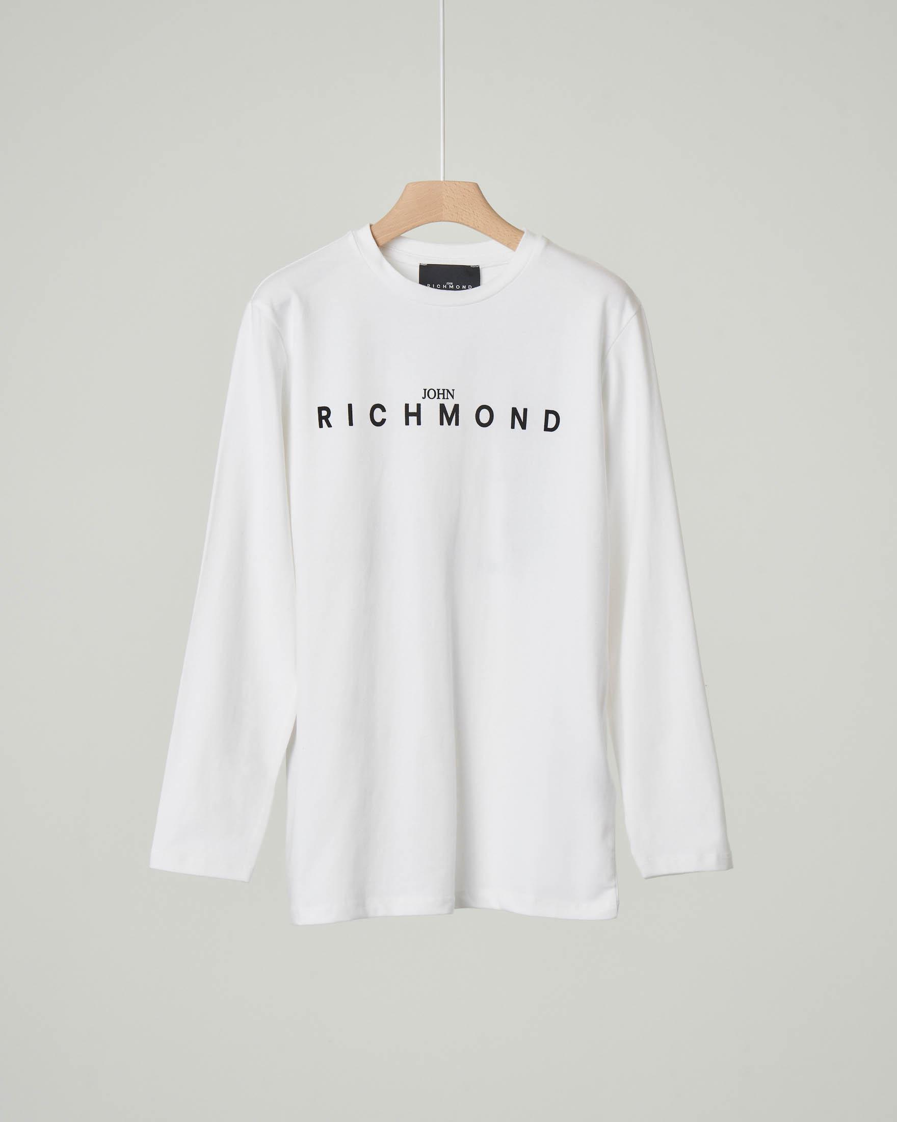 T-shirt bianca manica lunga con logo e scritta sul retro 10-16 anni