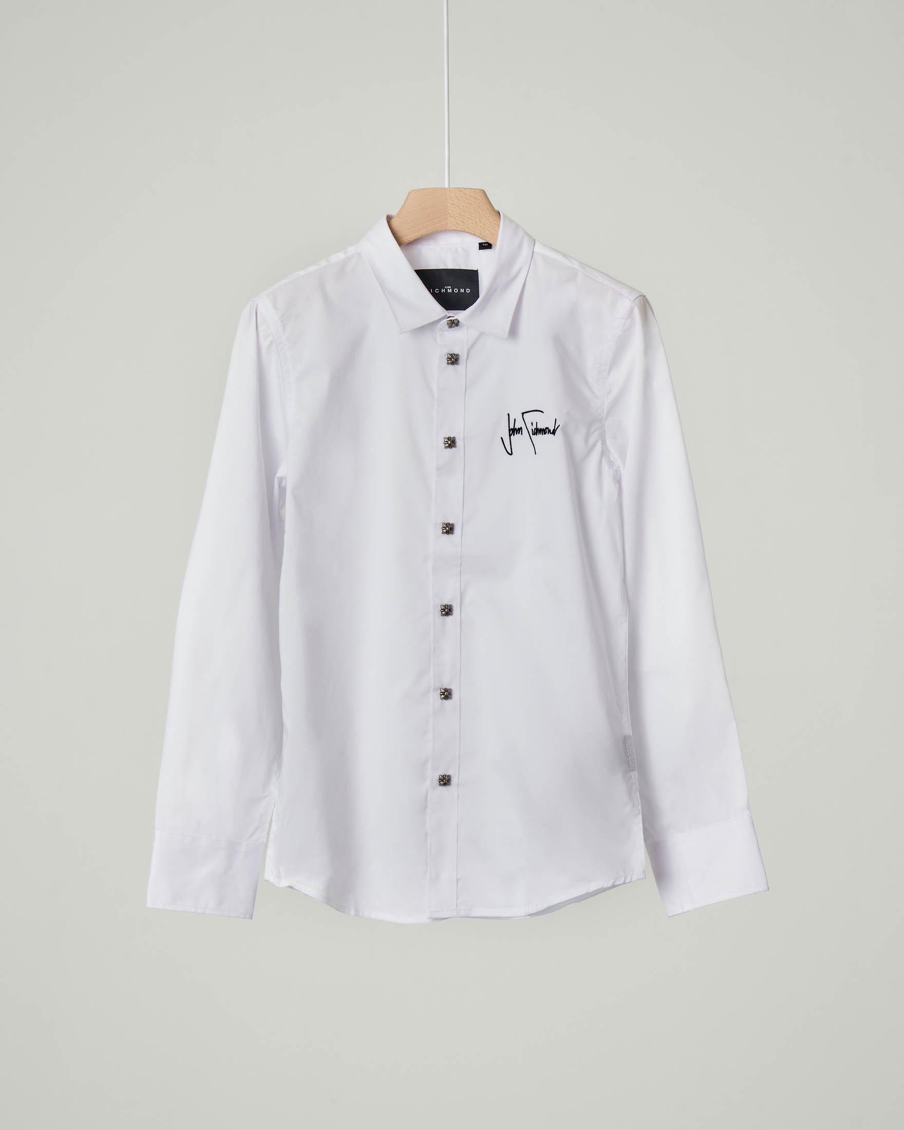 Camicia bianca in cotone stretch con logo ricamato 10-16 anni