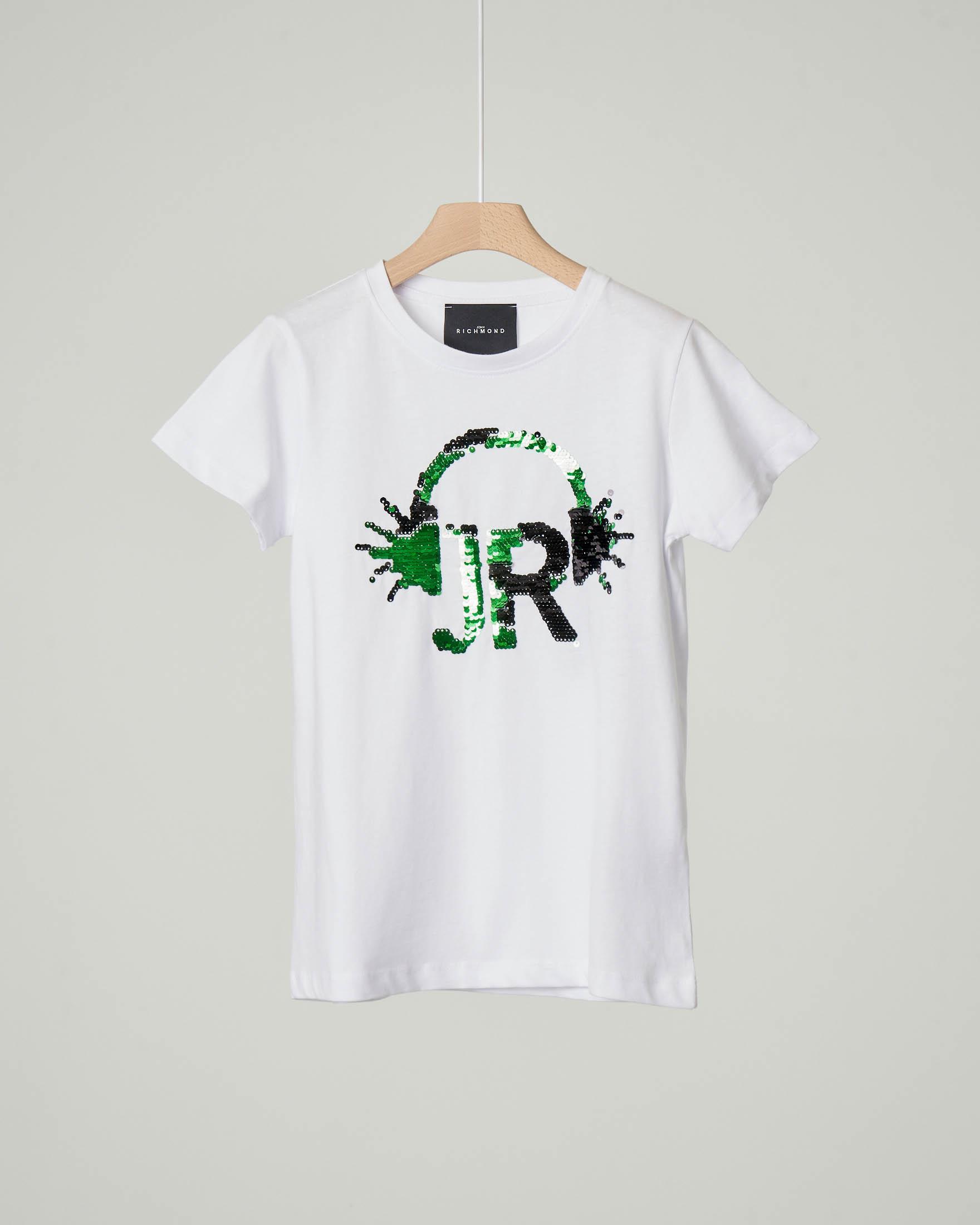 T-shirt bianca mezza manica con grafica JR e cuffie composta da paillettes 10-16 anni