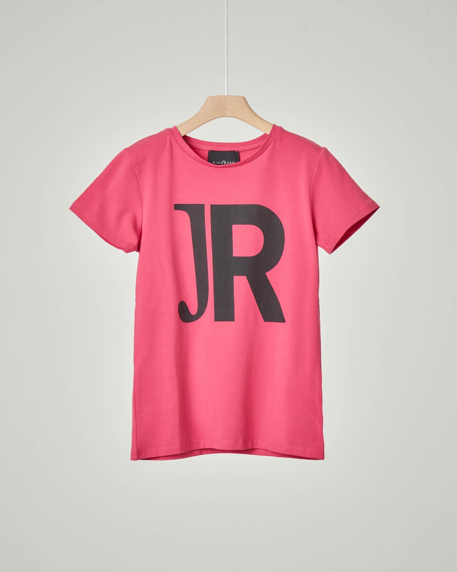 T-shirt mezza manica rosa con JR nero stampato davanti e logo sul retro 10-16 anni