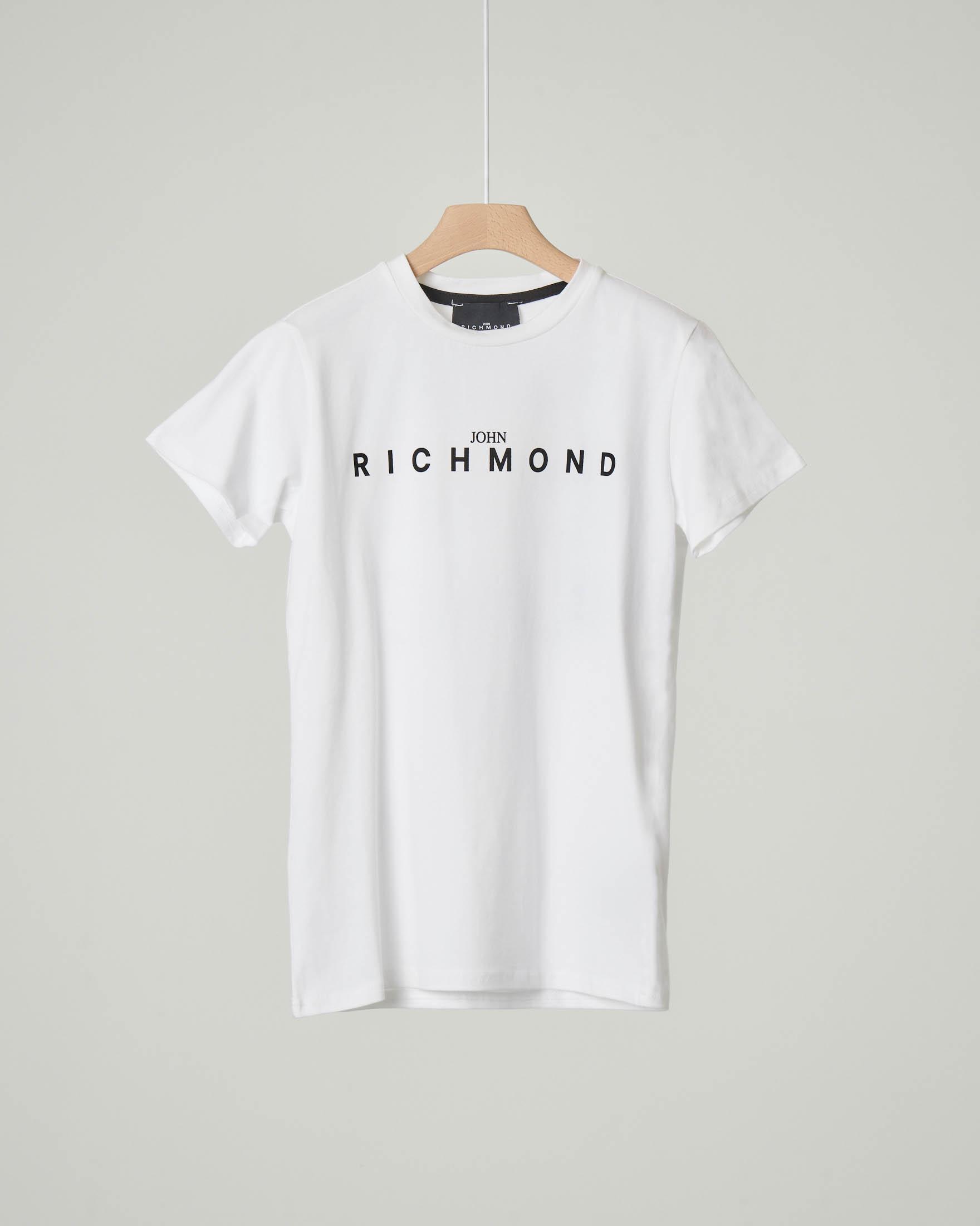T-shirt bianca mezza manica con logo e scritta sul retro 10-16 anni