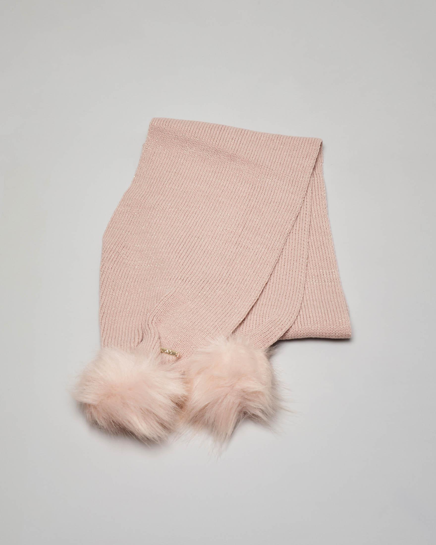 Sciarpa rosa con pompon