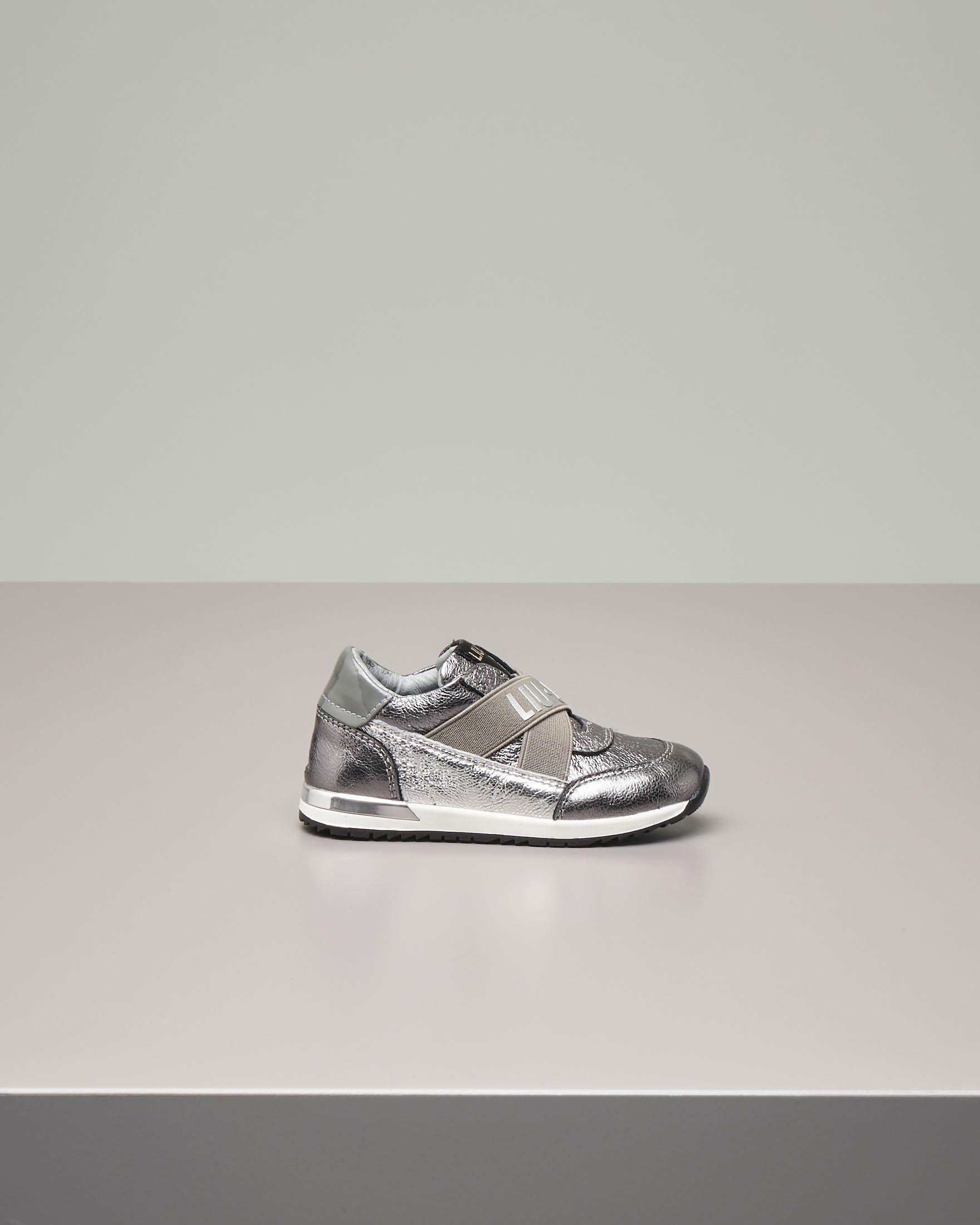 Sneakers slip-on argentate in pelle 25-28