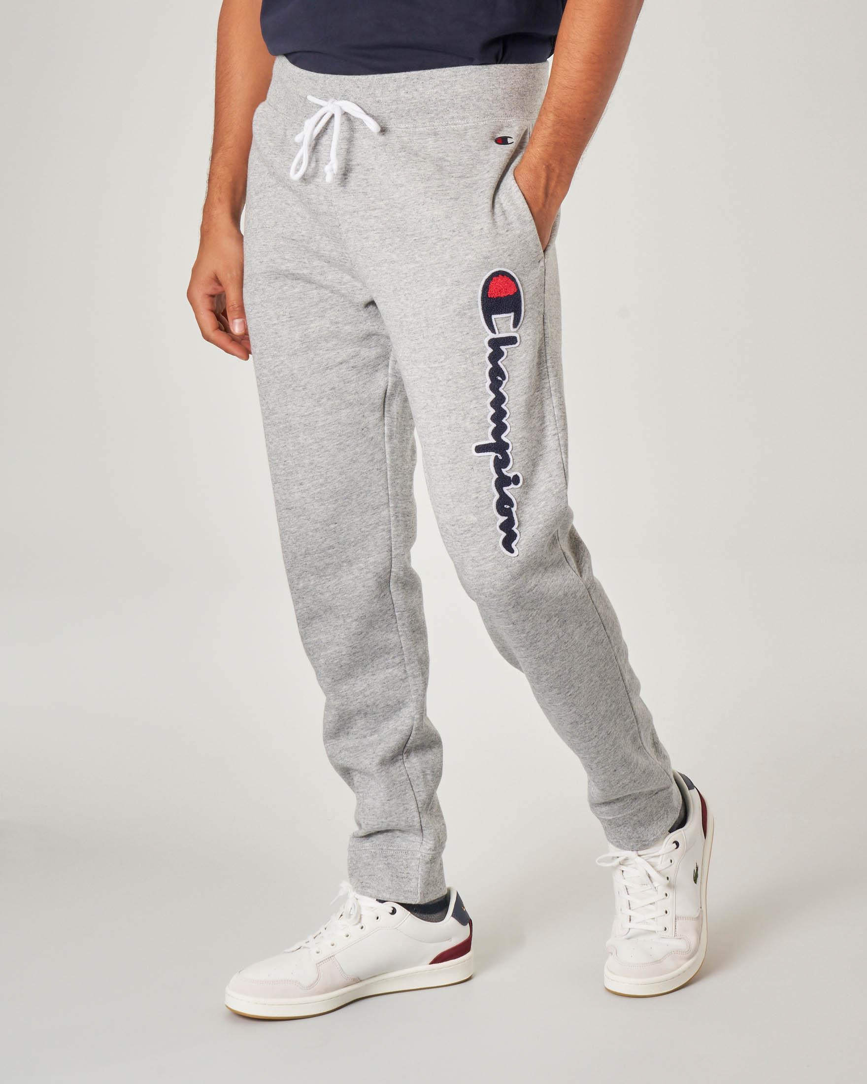 Pantalone grigio melange in felpa con logo in spugna