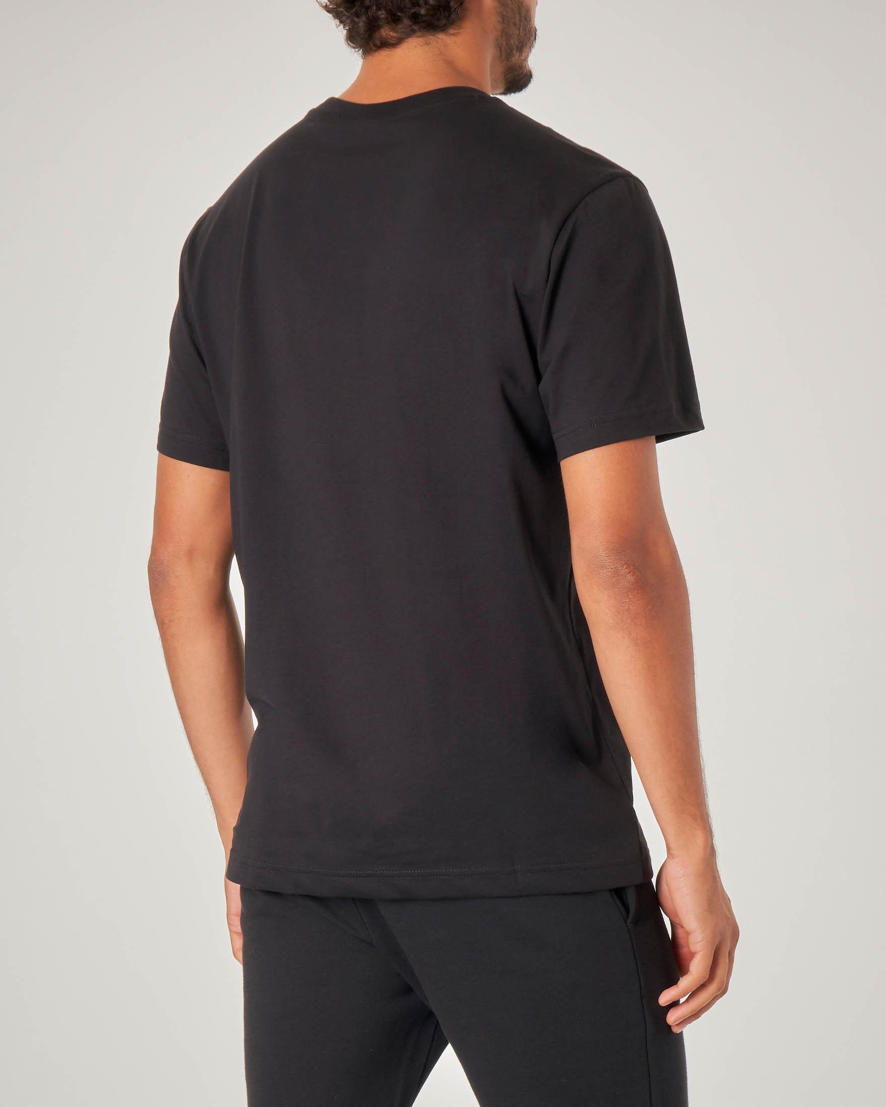 T-shirt nera mezza manica con logo in spugna