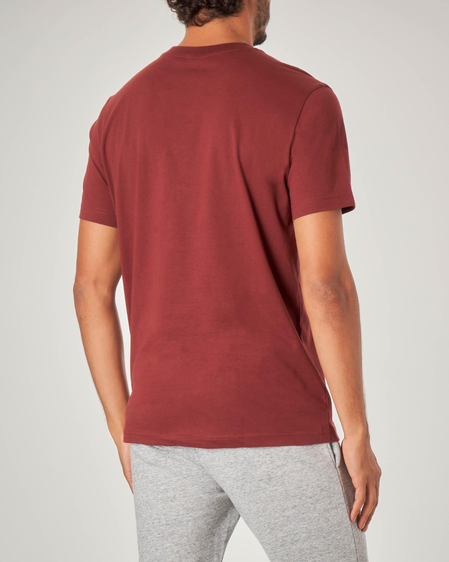 T-shirt bordeaux mezza manica con logo in spugna