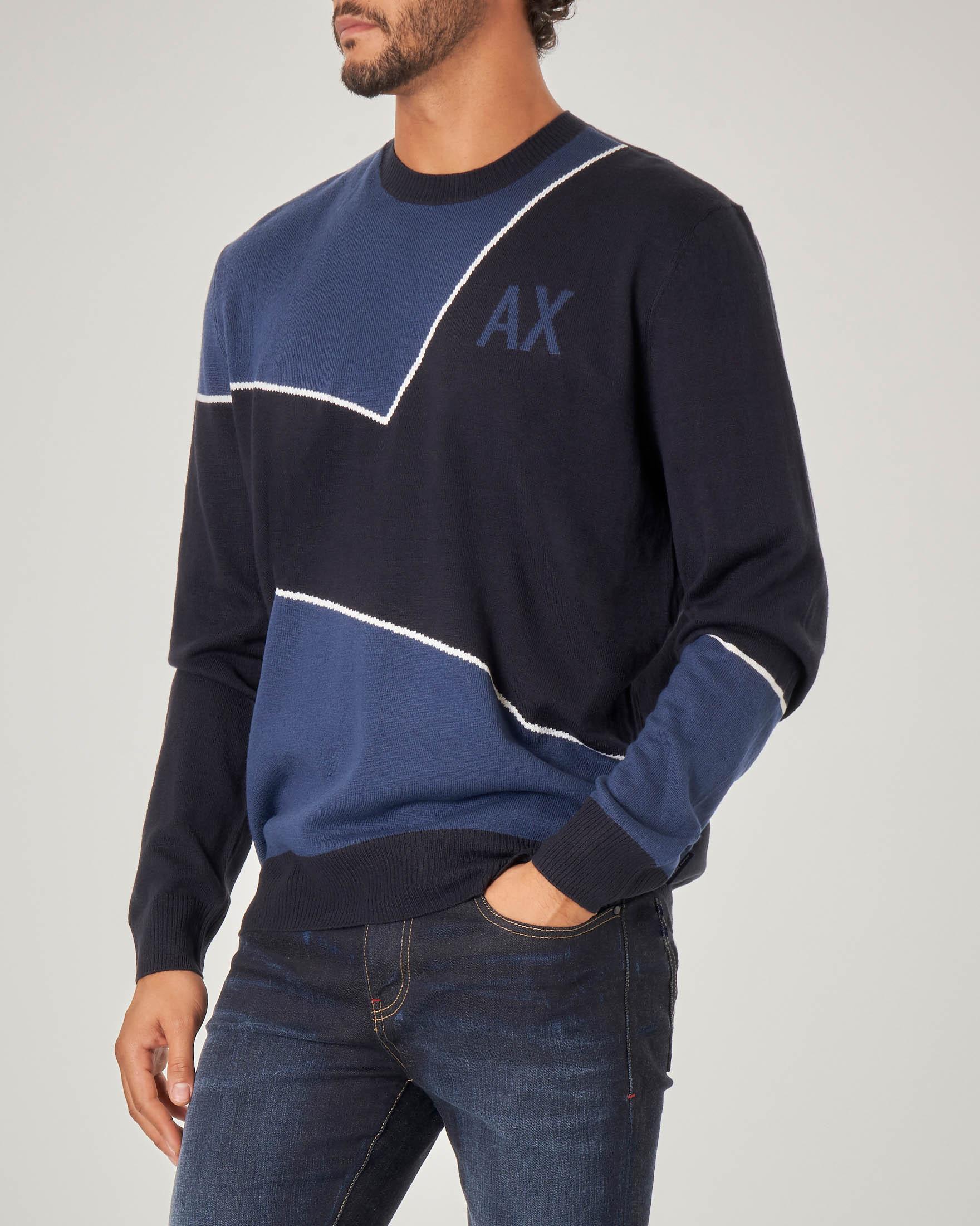 Maglia bicolore blu scuro e chiaro con logo AX jacquard