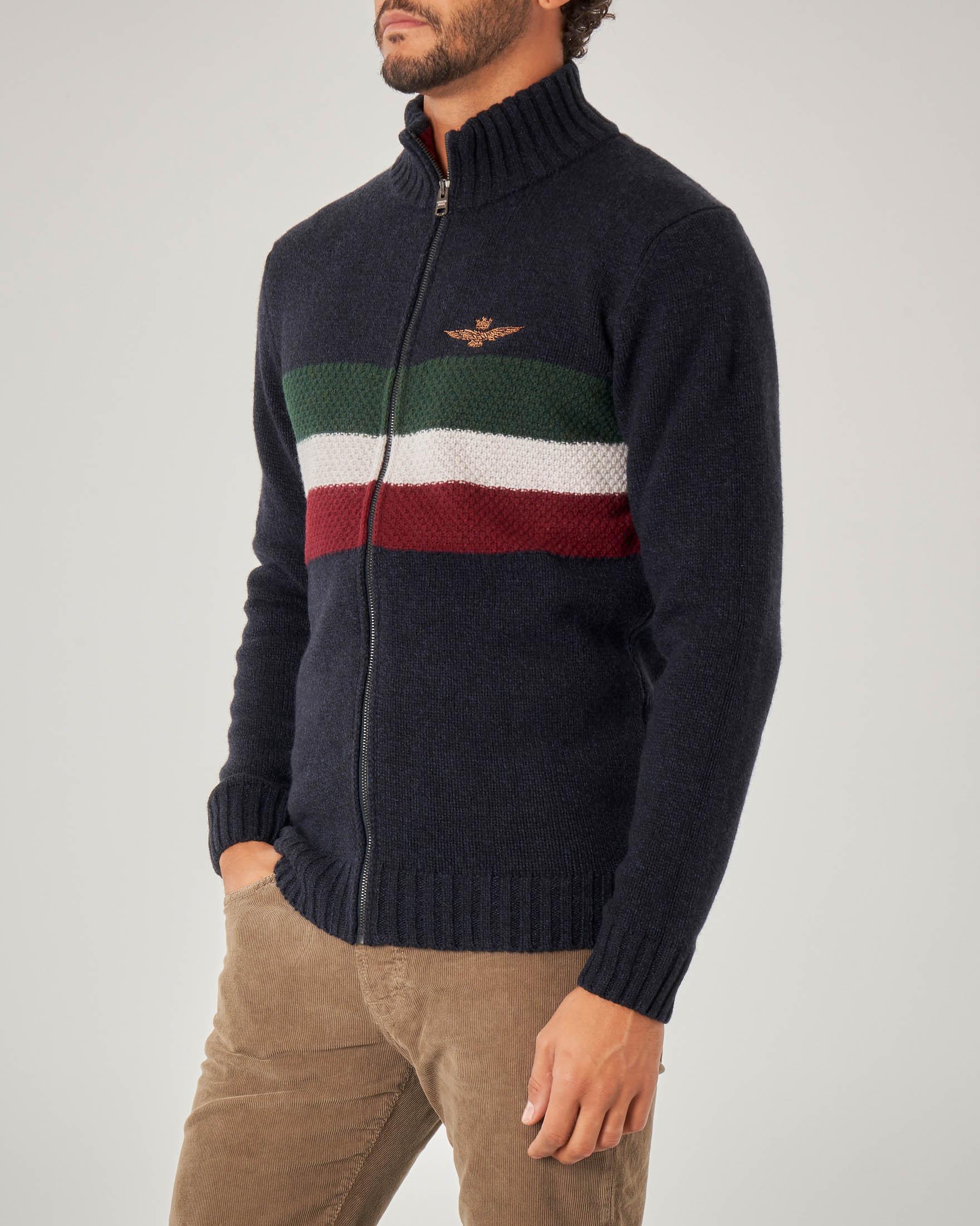 Maglia blu in lana con inserto tricolore e chiusura zip