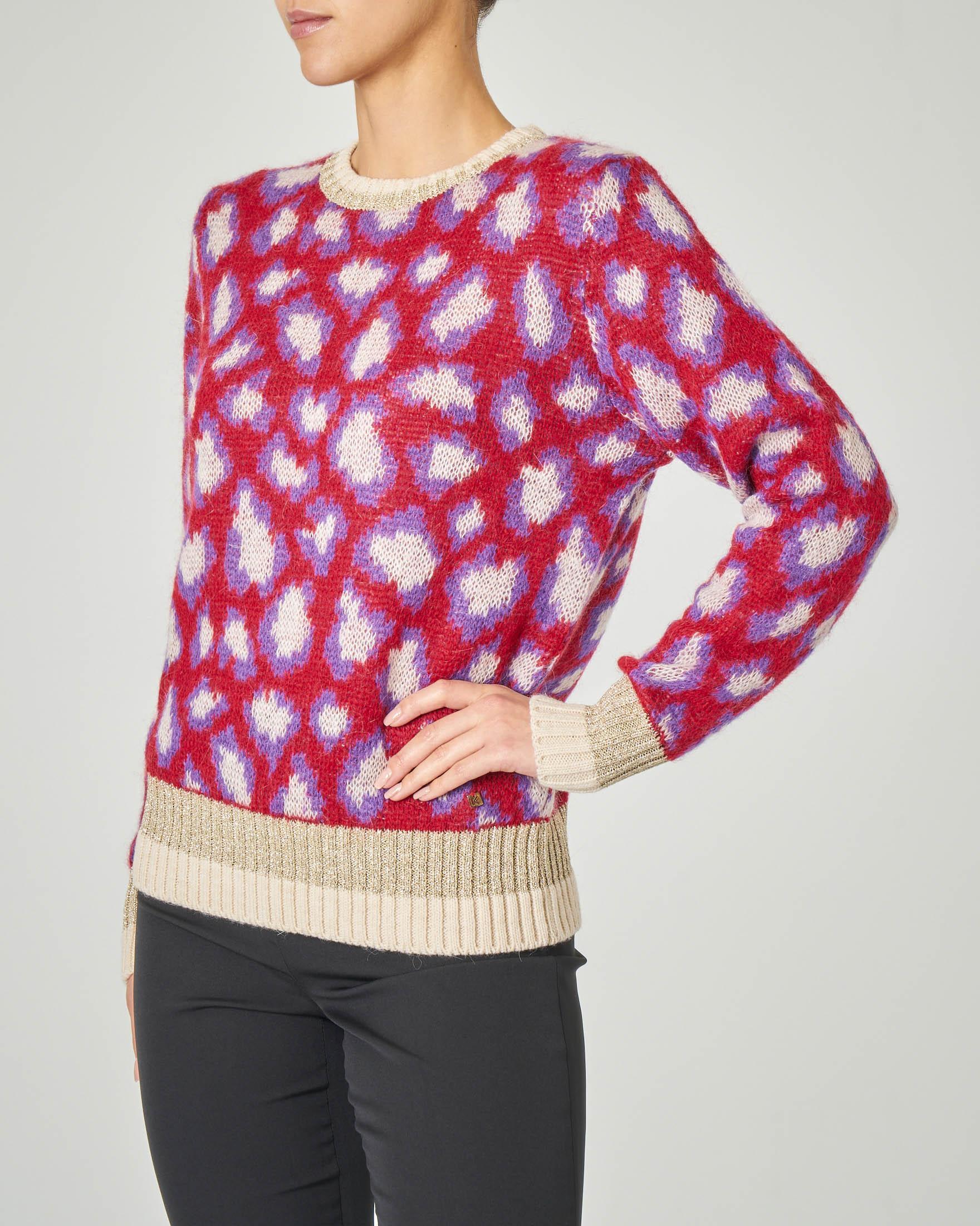 Maglia in lana misto mohair rossa a fantasia animalier con profili in lurex
