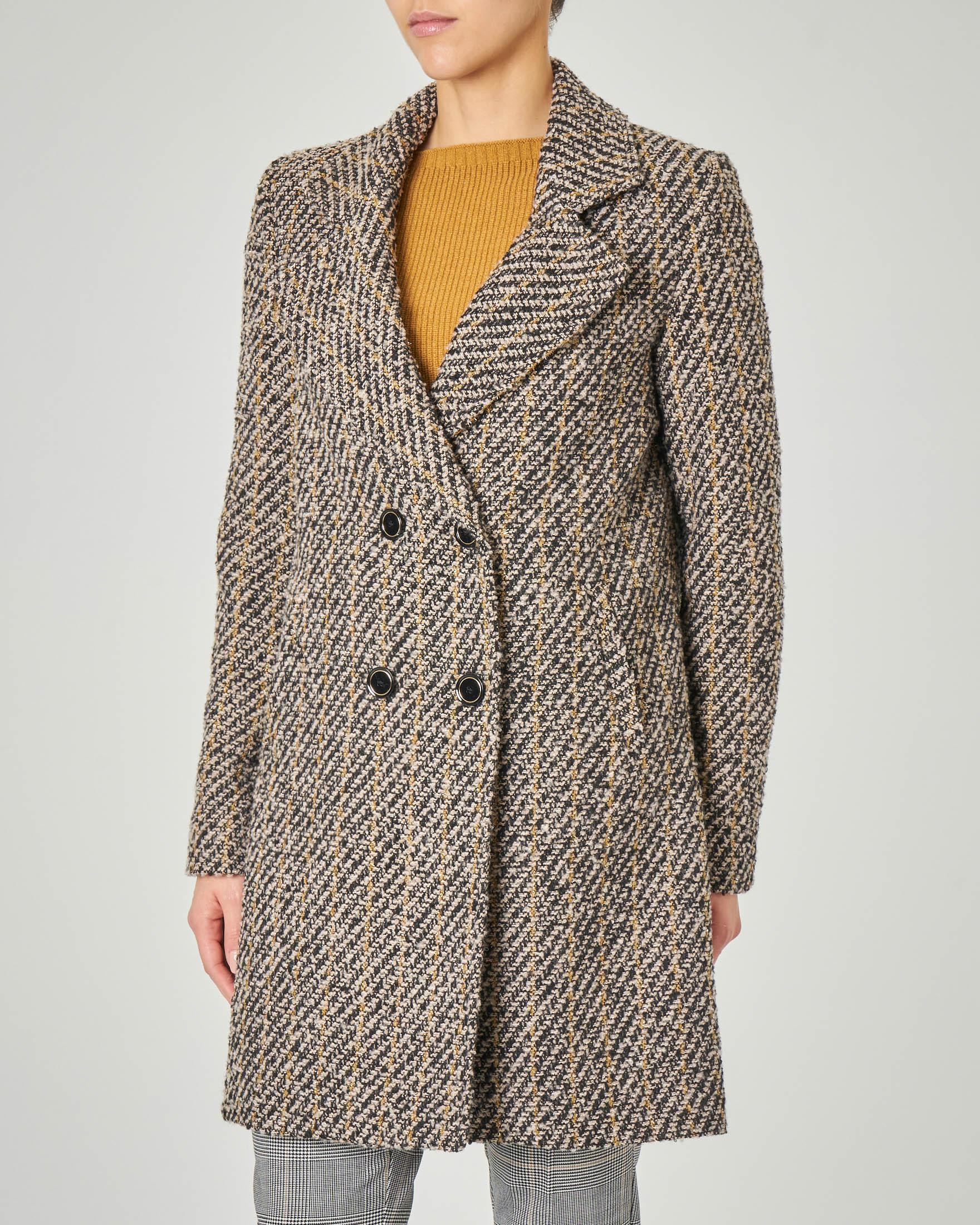 Cappotto doppiopetto in tessuto spigato nero con righina gialla