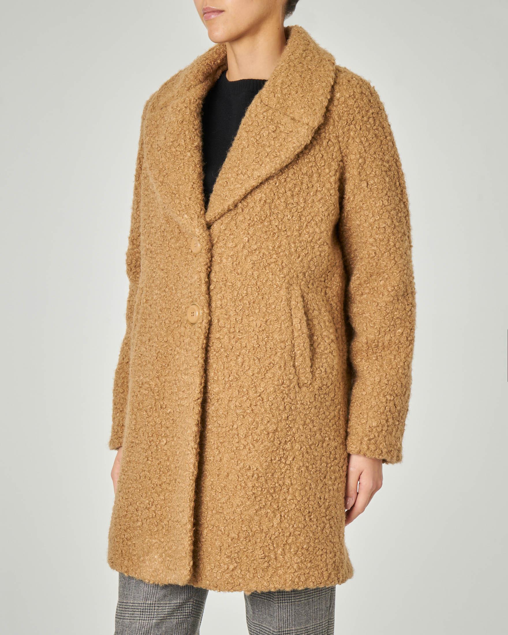 Cappotto cammello a due bottoni in tessuto effetto shearling