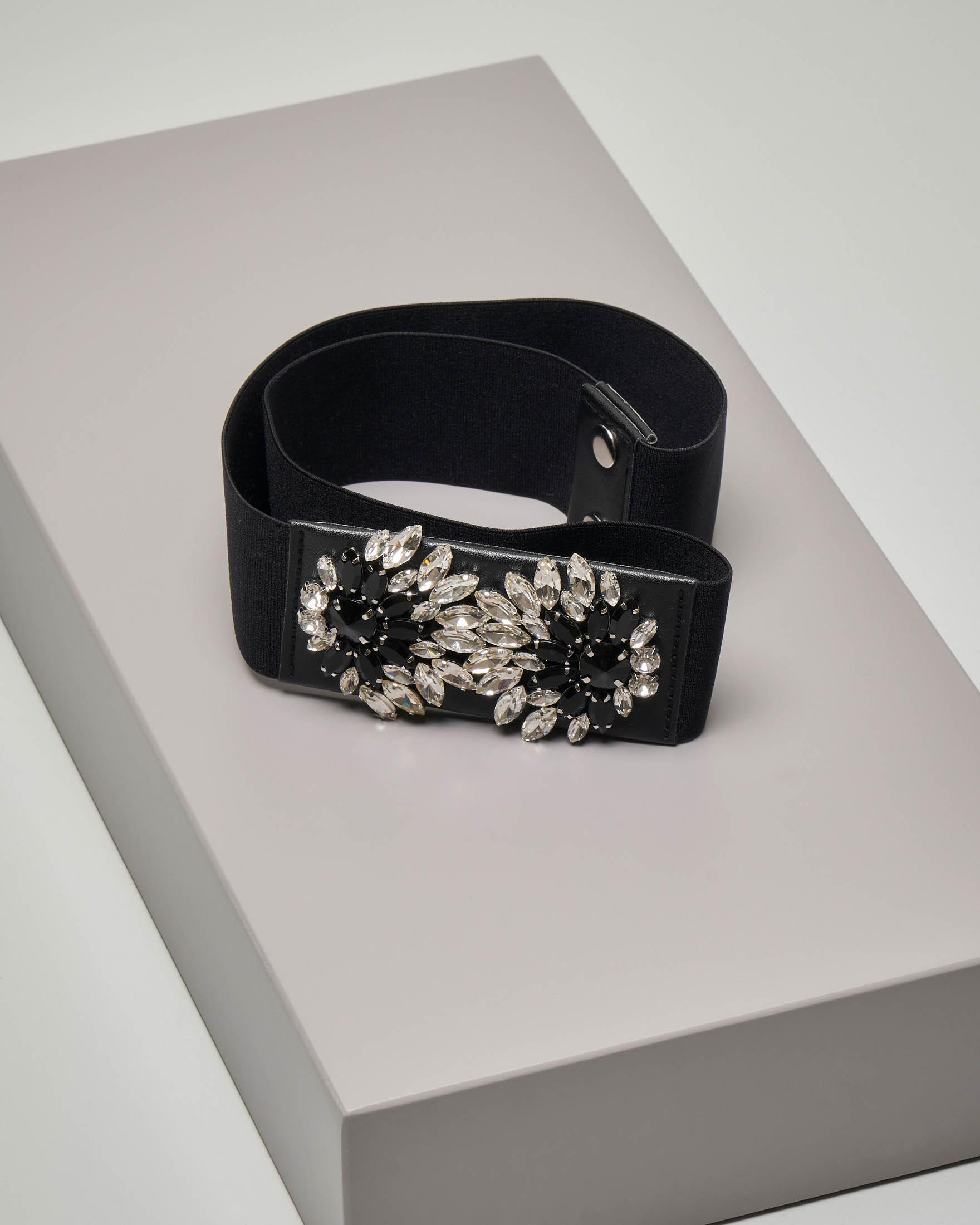 Cintura nera con fascia elastica con fibbia gioiello