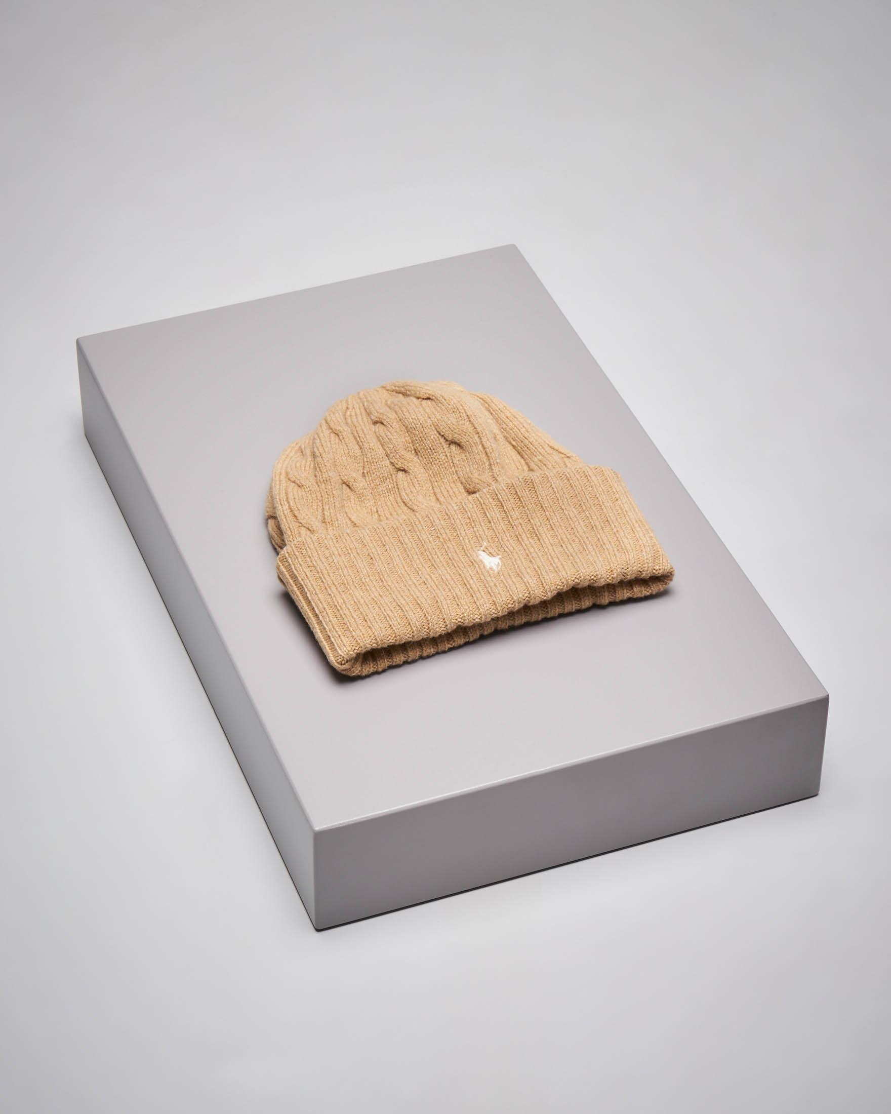 Berretto cammello in lana misto cashmere