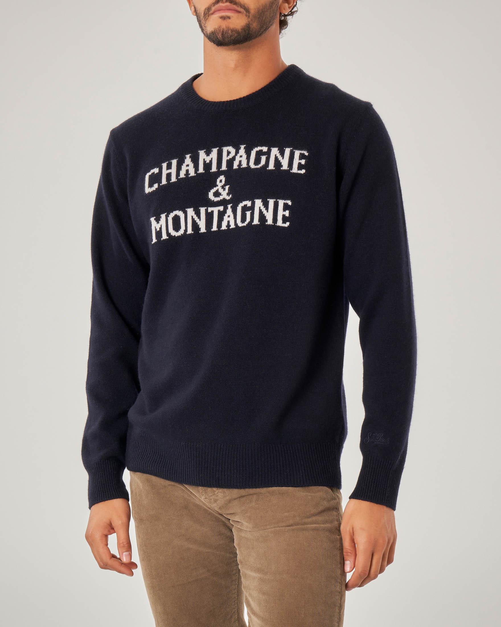 Maglia blu in misto lana viscosa e cachemire con scritta Champagne & Montagne