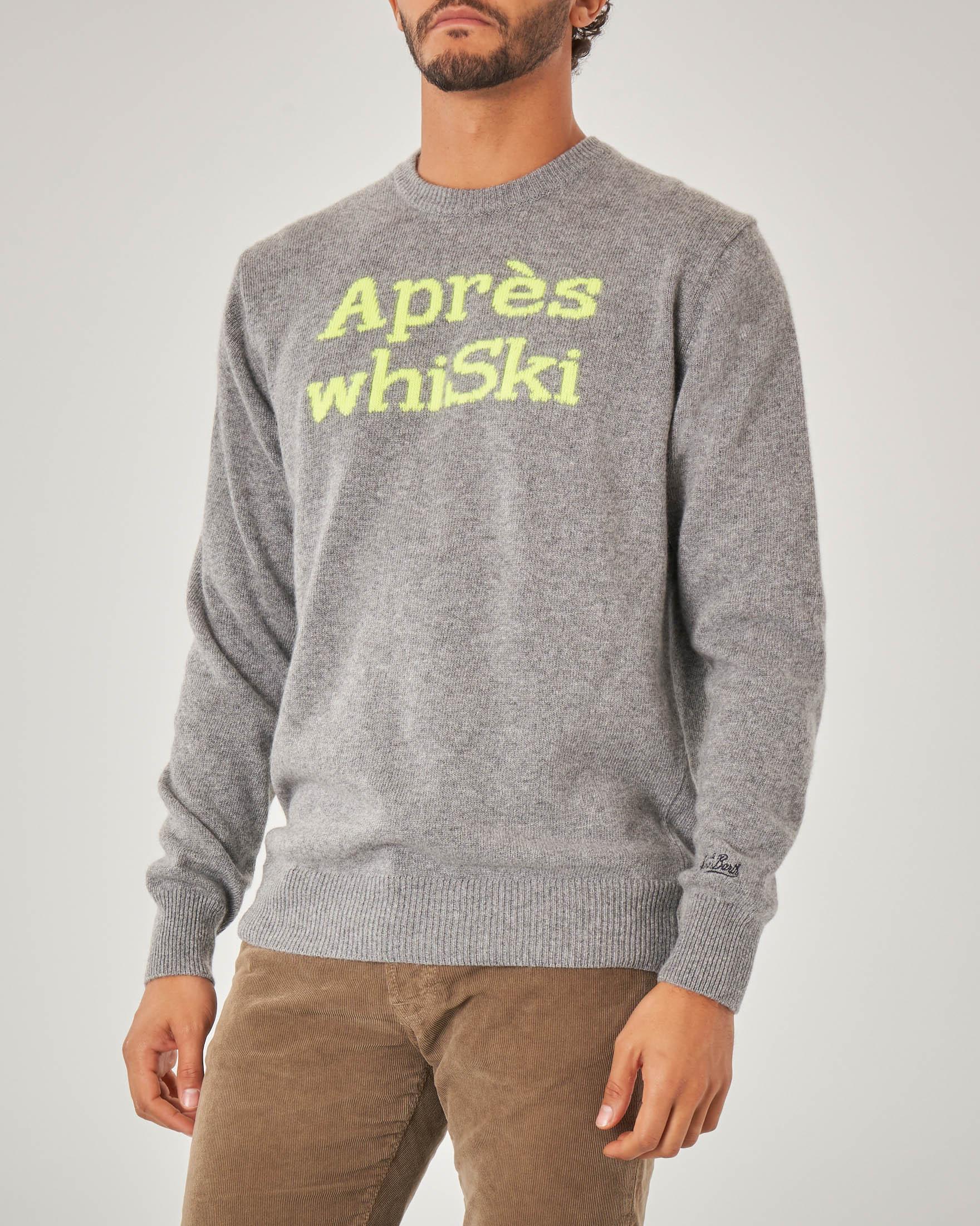 Maglia grigia in misto lana viscosa e cachemire con scritta Après WhiSki