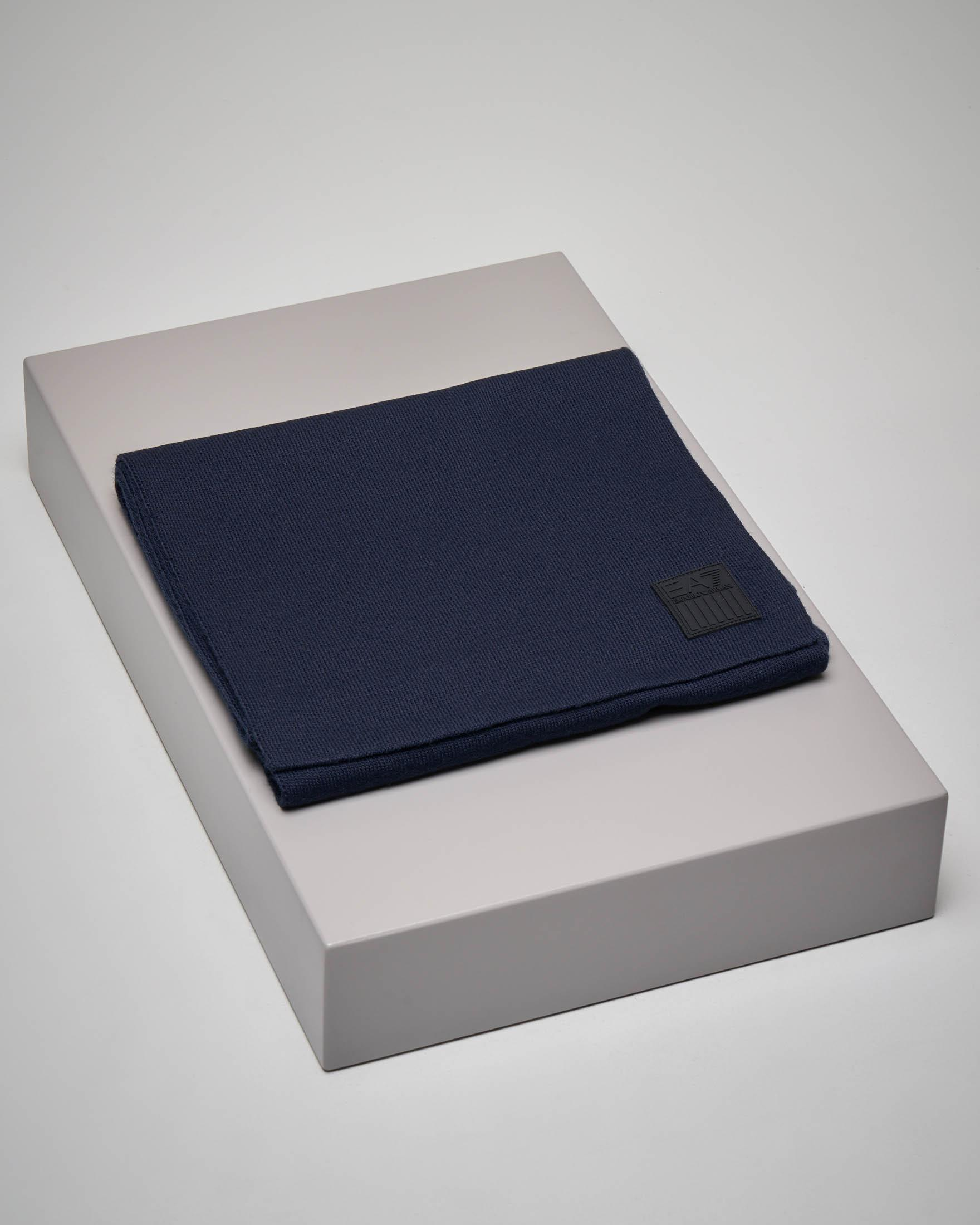 Sciarpa blu con maxi-logo aquila