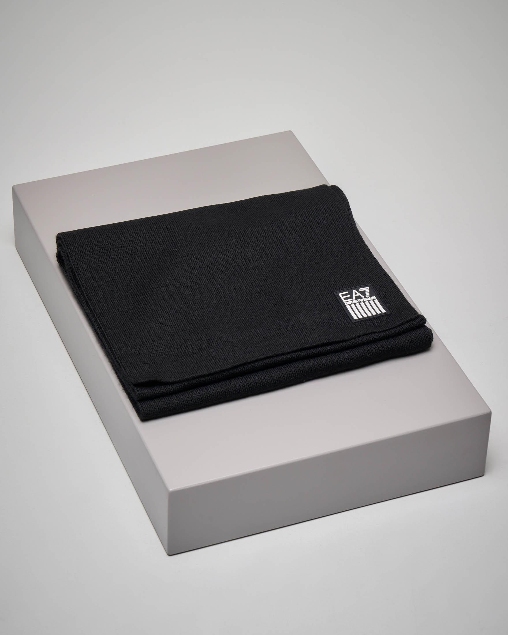 Sciarpa nera con maxi-logo aquila