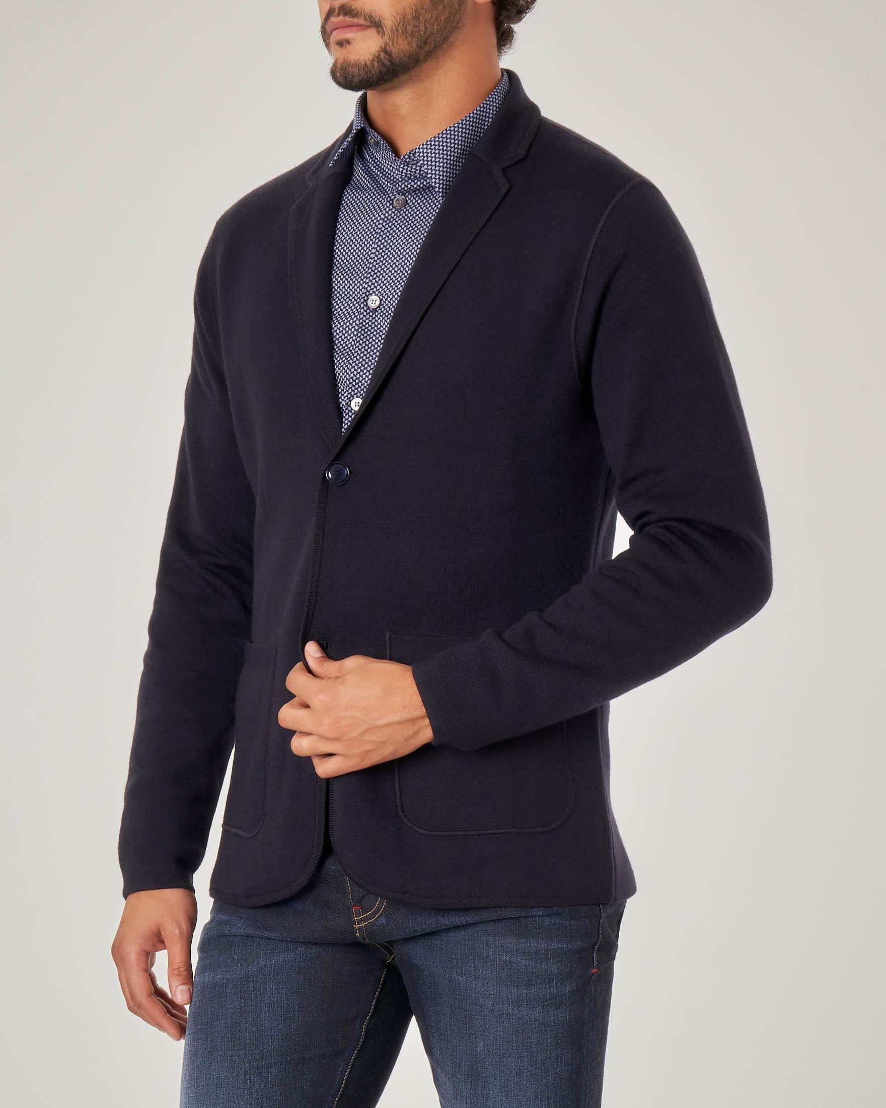 Giacca maglia blu in cotone e lana con chiusura a due bottoni