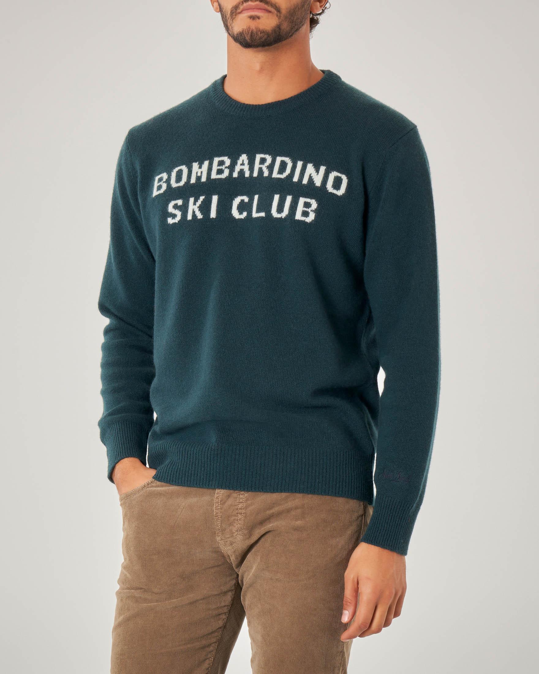 Maglia verde in misto lana viscosa e cachemire con scritta Bombardino Ski Club