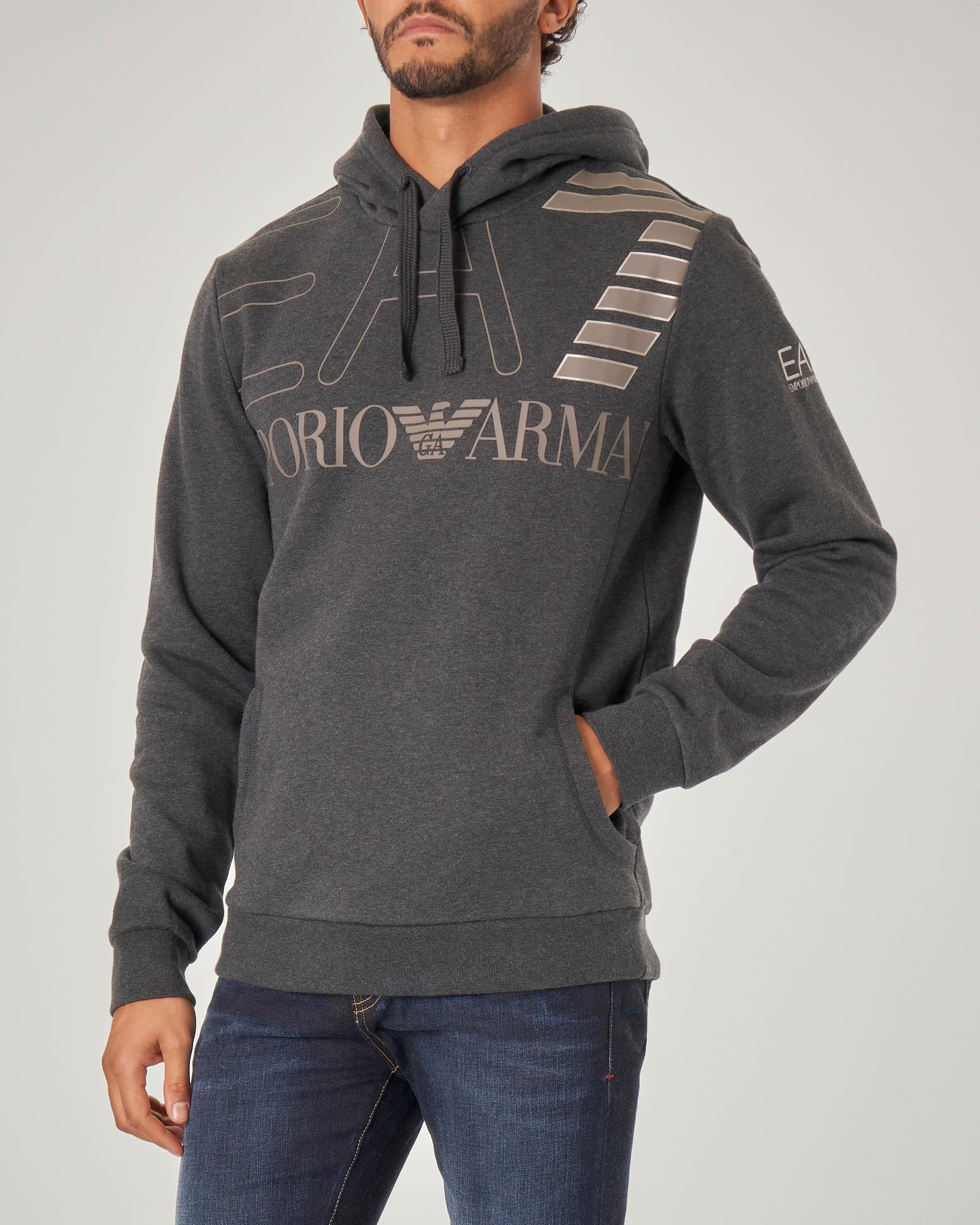 Felpa grigio antracite con cappuccio e maxi-logo stampato sul petto