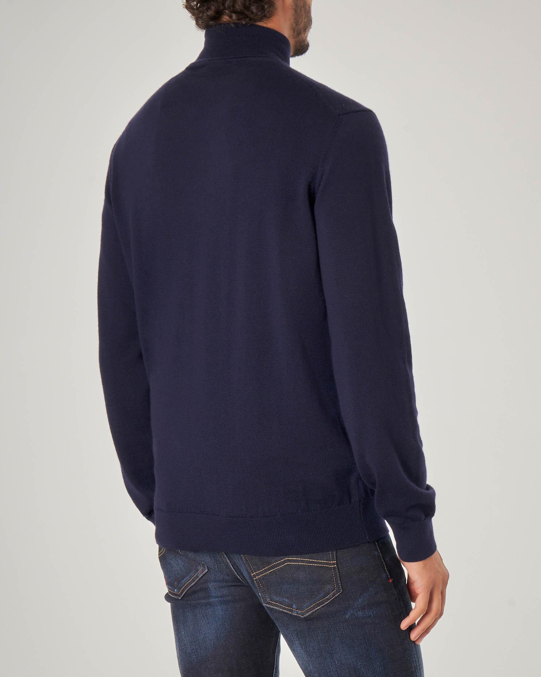 Dolcevita blu in lana merino
