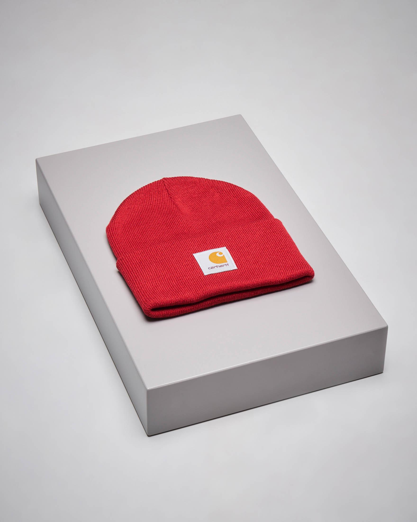 Berretto Acrylic Watch Hat rosso con logo