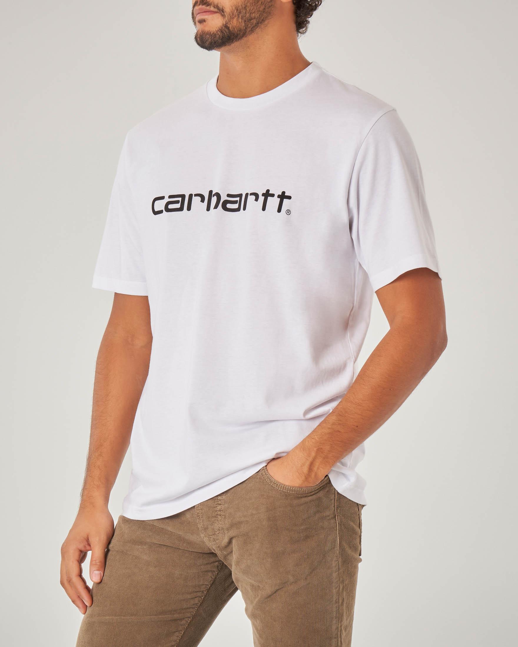 T-shirt bianca mezza manica con logo nero stampato