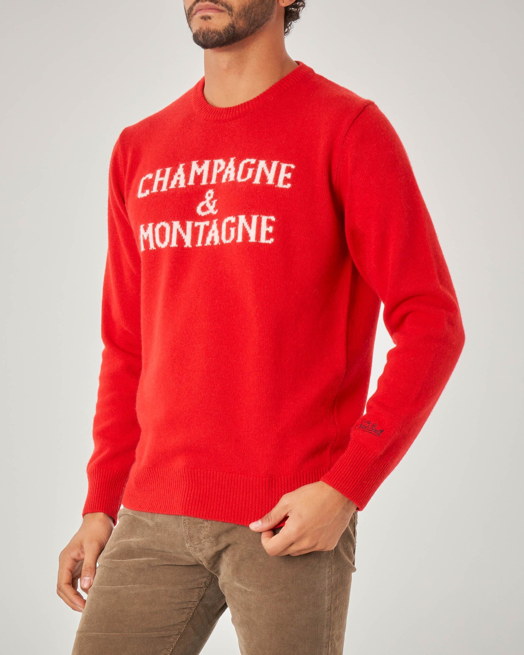 Maglia rossa in misto lana viscosa e cachemire con scritta Champagne & Montagne