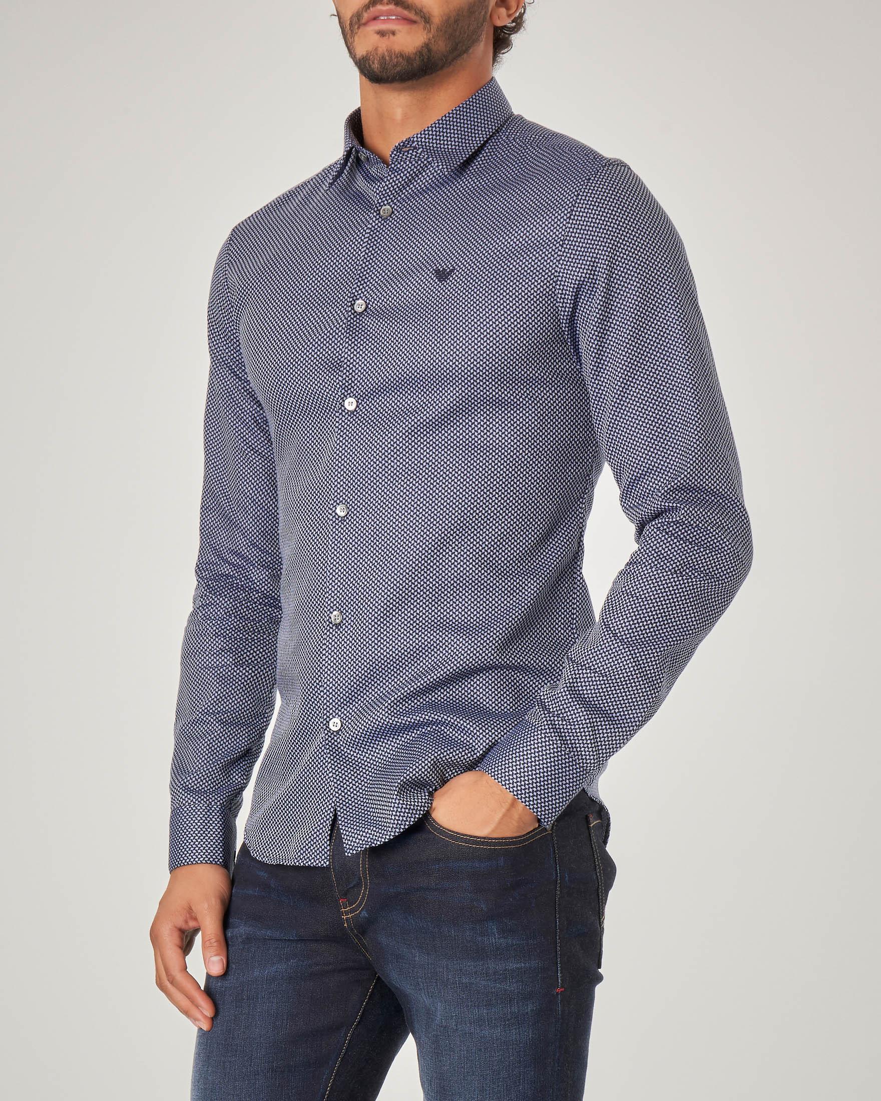 Camicia blu microfantasia con logo ricamato