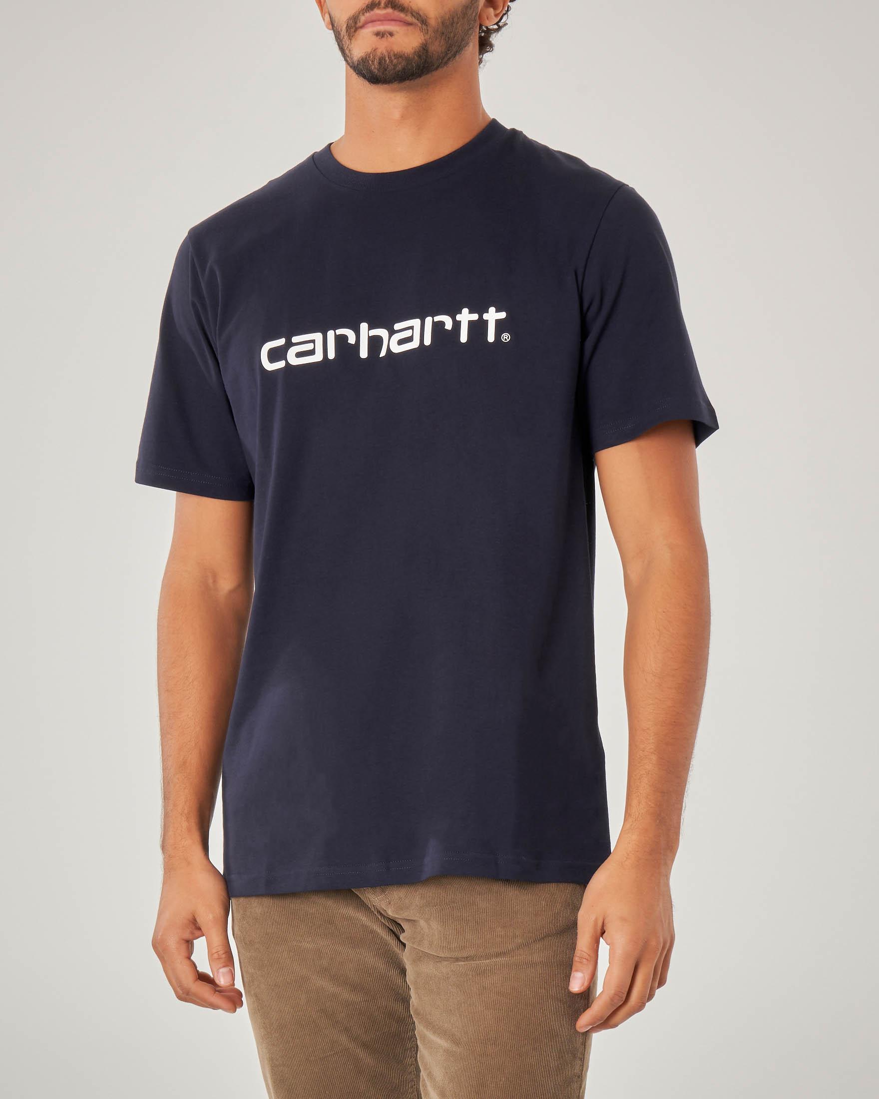 T-shirt blu mezza manica con logo bianco stampato