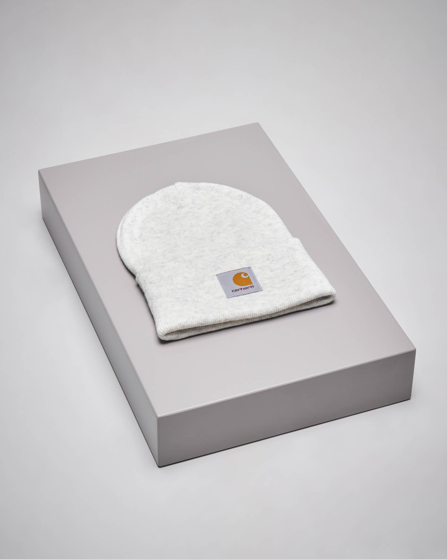 Berretto Acrylic Watch Hat bianco melange con logo