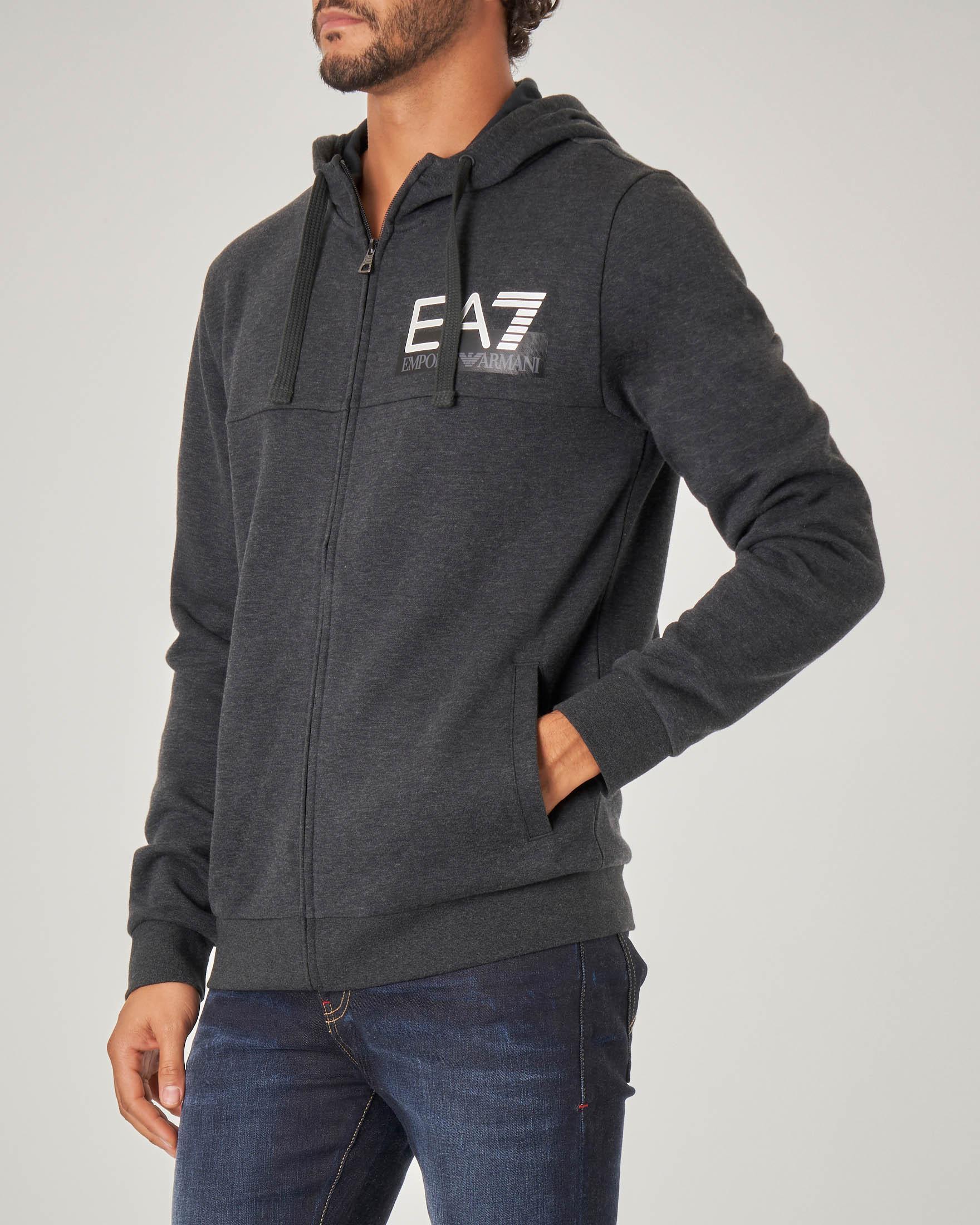 Felpa grigio antracite con cappuccio e zip