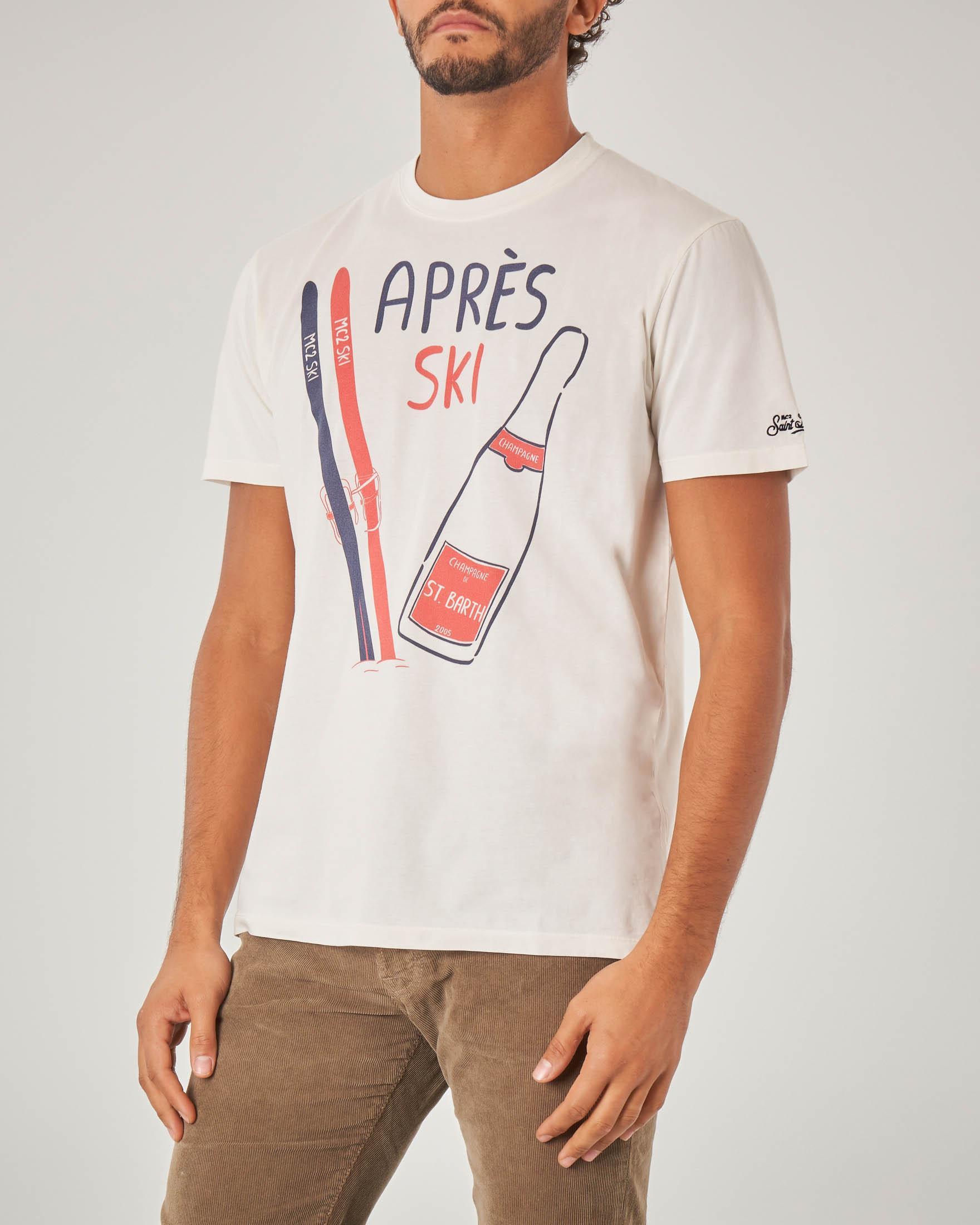 T-shirt bianca mezza manica con scritta Après Ski e stampa