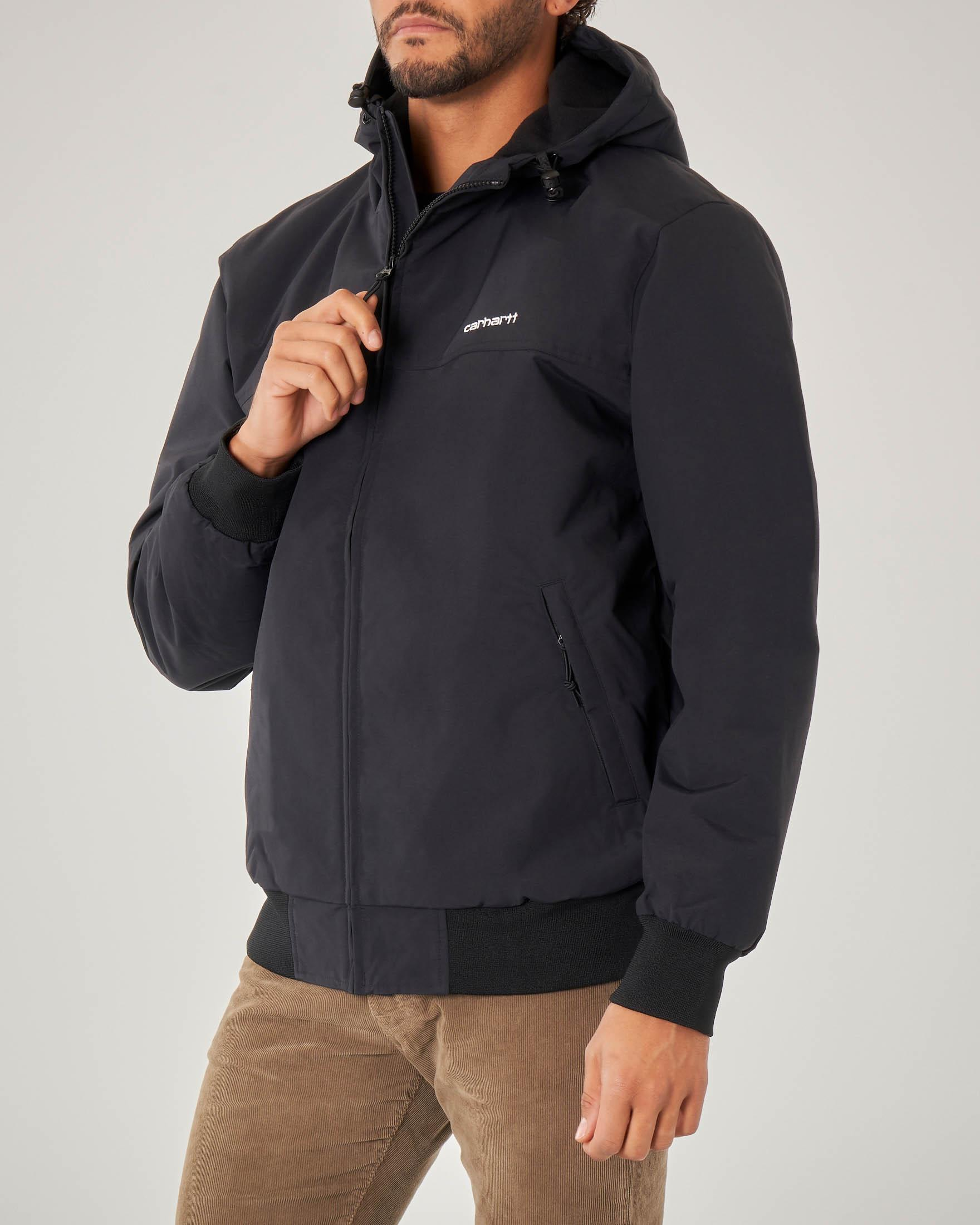 Hooded Sail Jacket nera con cappuccio
