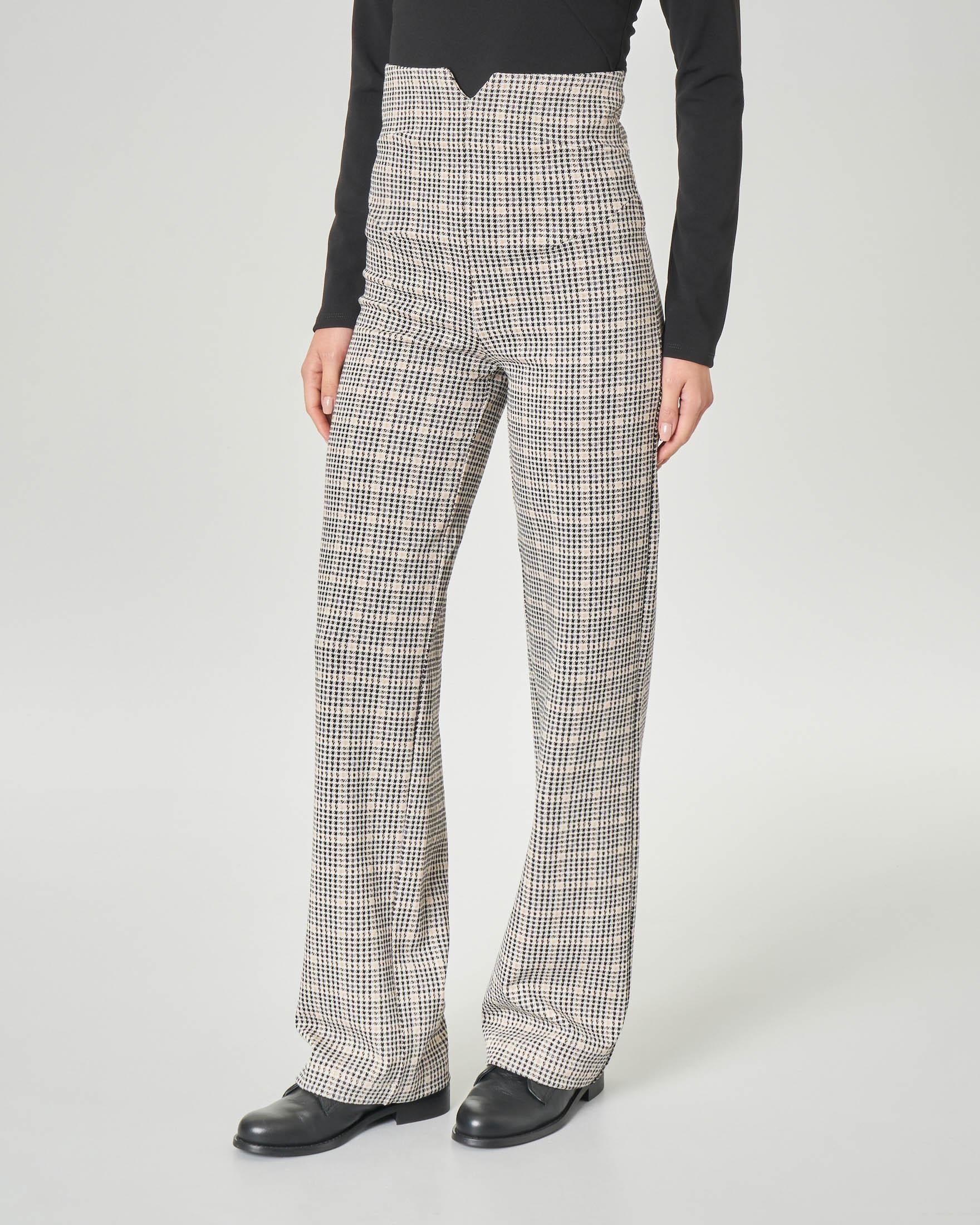 Pantaloni palazzo a vita alta in viscosa elasticizzata a fantasia check