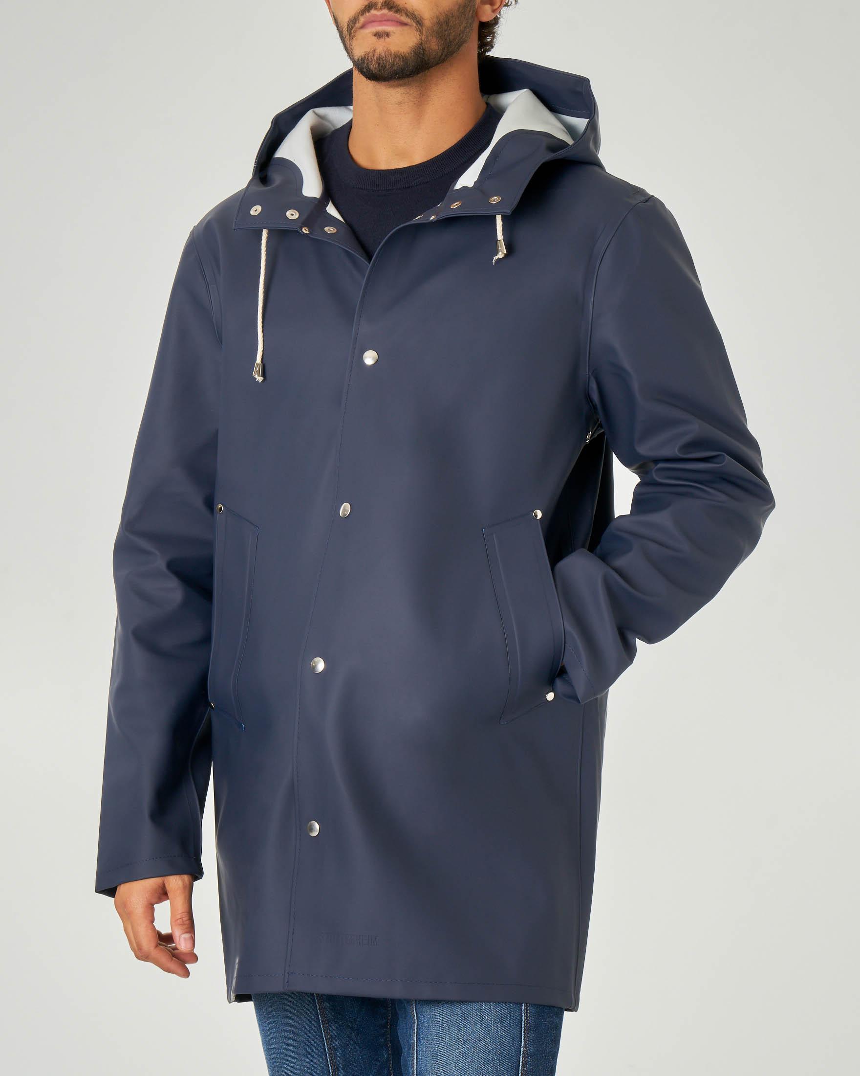 Impermeabile blu in tessuto gommato con cappuccio