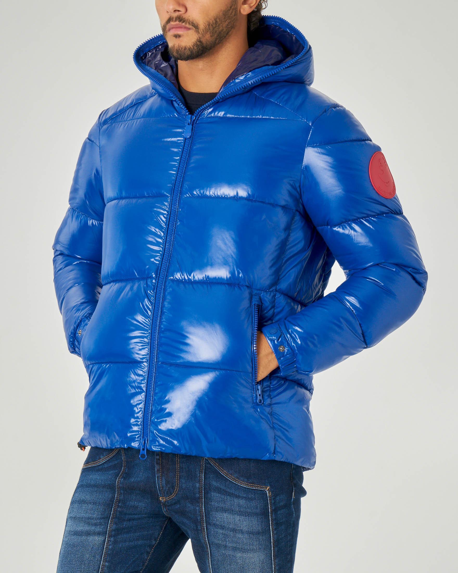 Piumino blu royal in nylon lucido con cappuccio