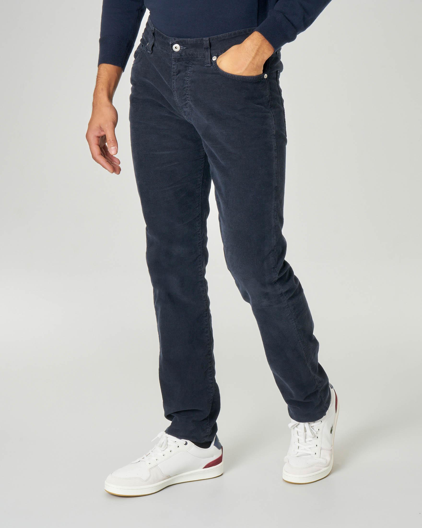 Pantalone cinque tasche blu in velluto stretch