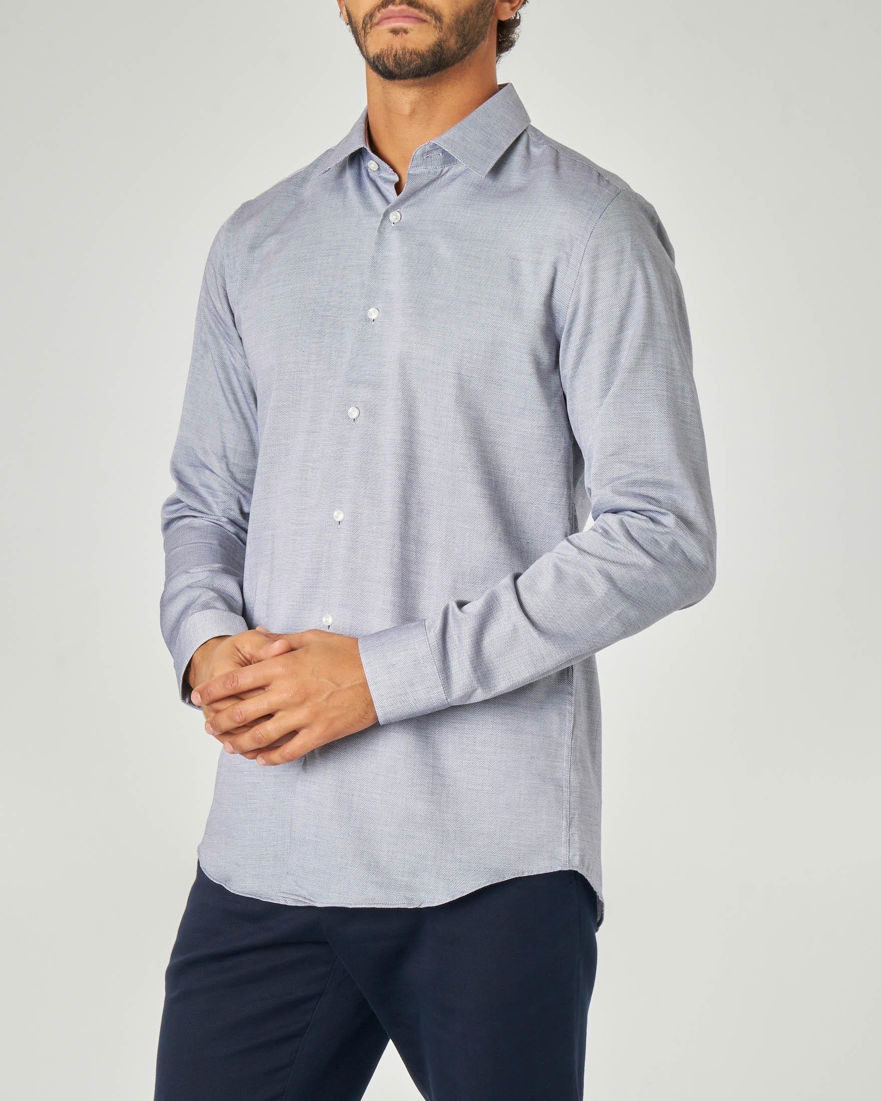 Camicia blu microarmatura con colletto all'italiana