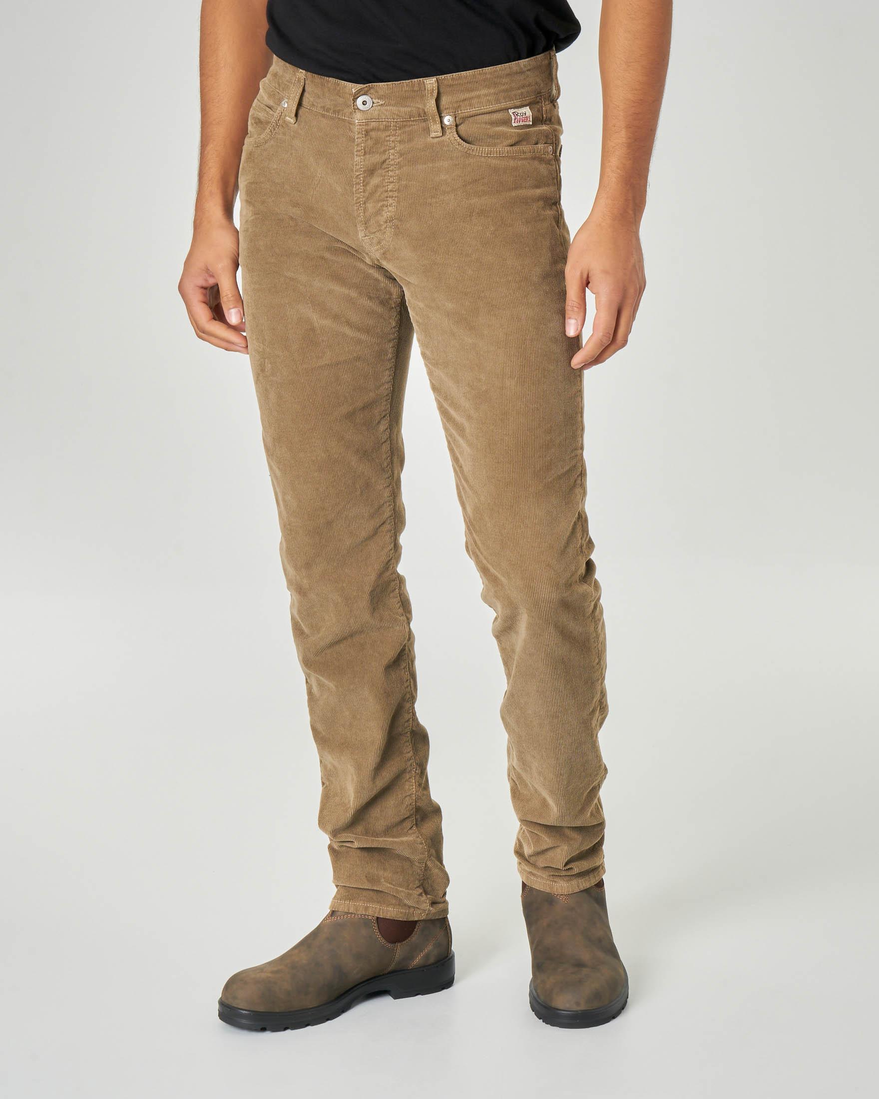 Pantalone cinque tasche beige in velluto stretch