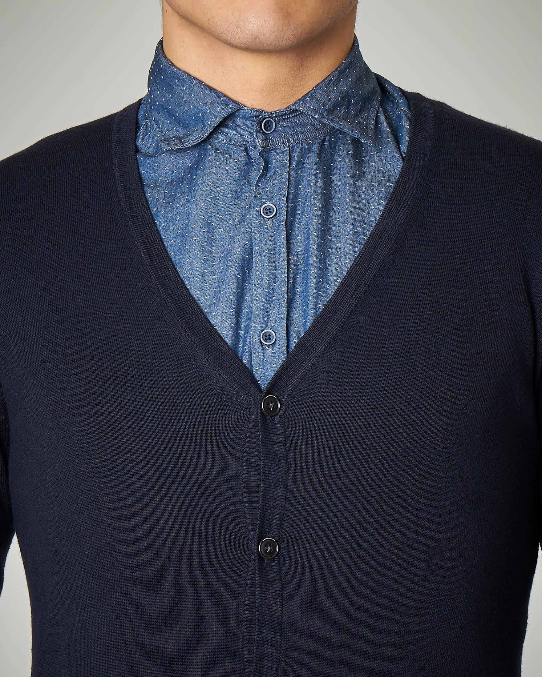 Cardigan blu in viscosa