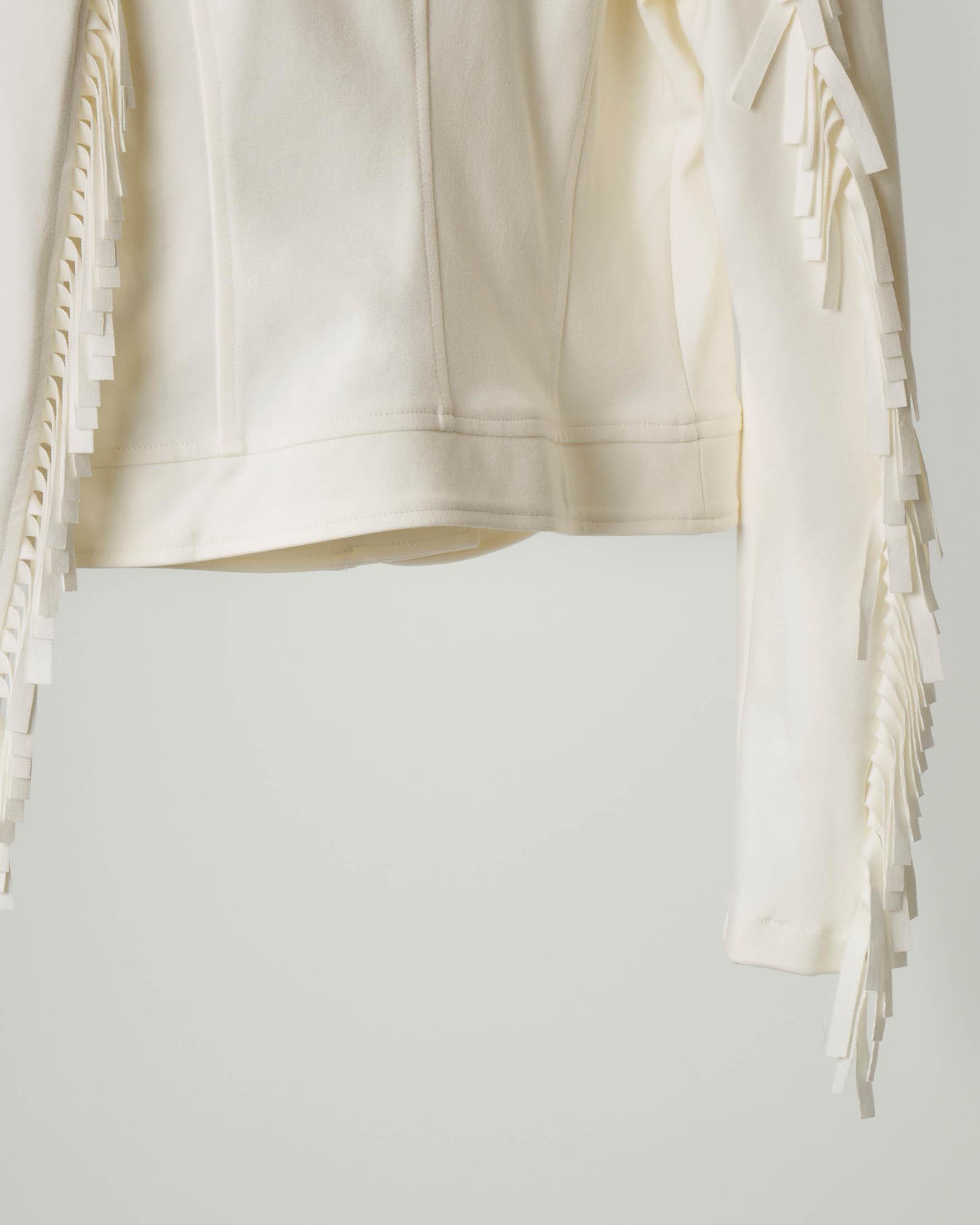 Giacca chiodo color avorio con frange sulle maniche 36-38