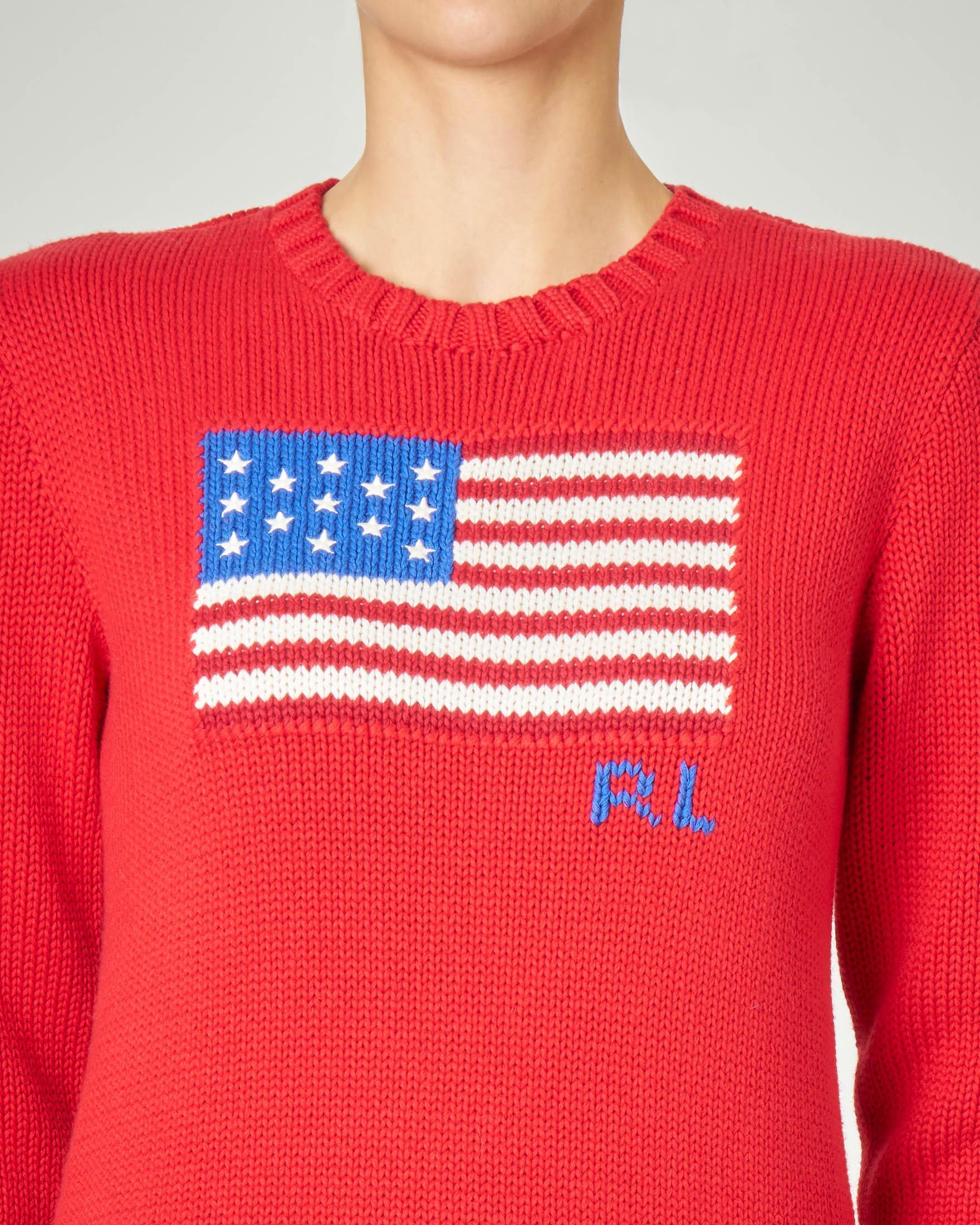 Maglione rosso in cotone misto lino con orso ricamato