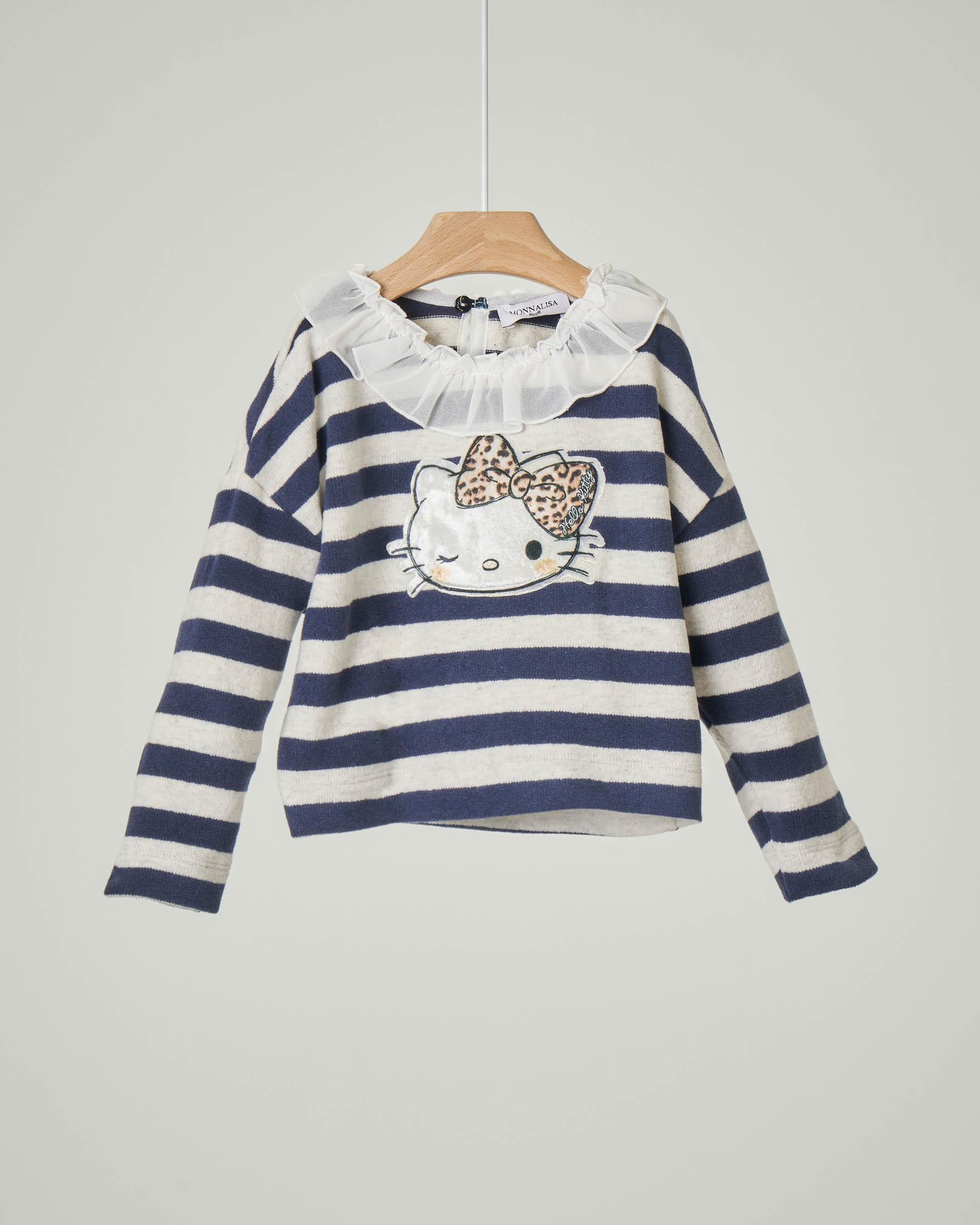 Maglia bianca e blu a righe con ricamo Hello Kitty e colletto voile 12-36 mesi