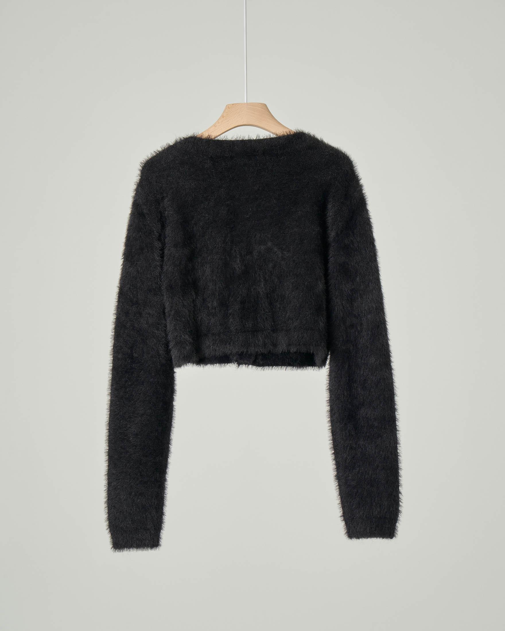 Maglia cardigan nera in tessuto effetto pelliccia S-XL