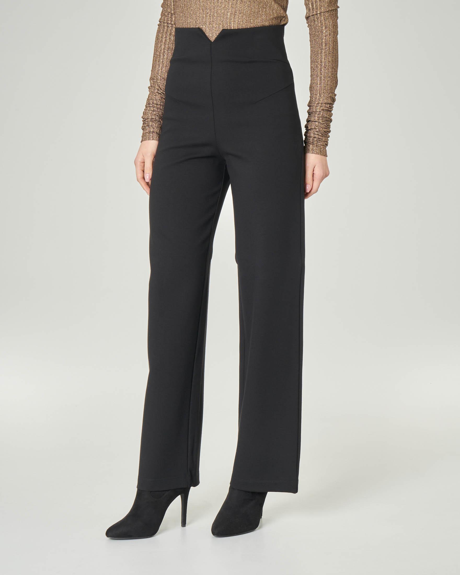 Pantaloni neri in viscos stretch a vita alta