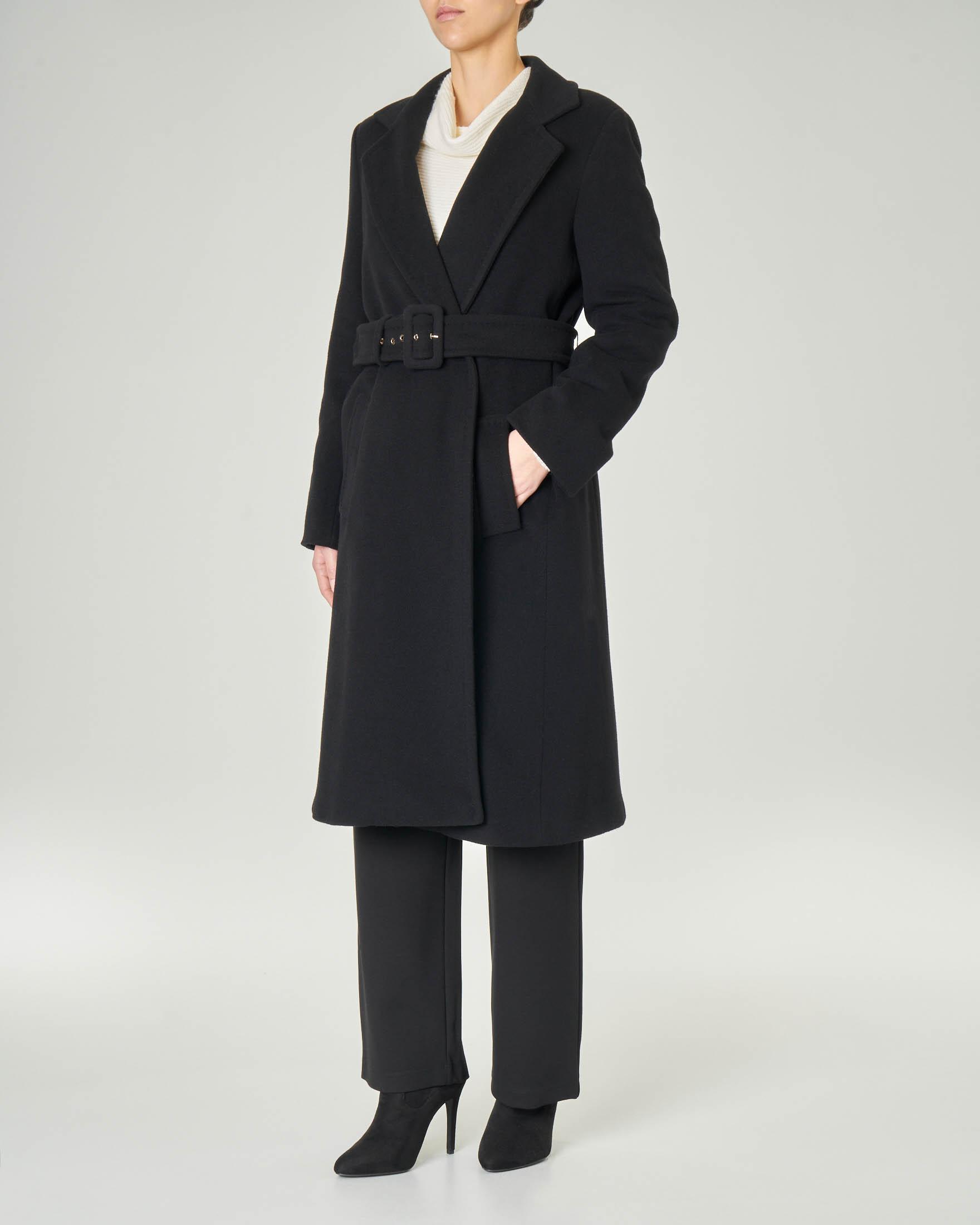 Cappotto in panno con cintura in vita NERO NERO