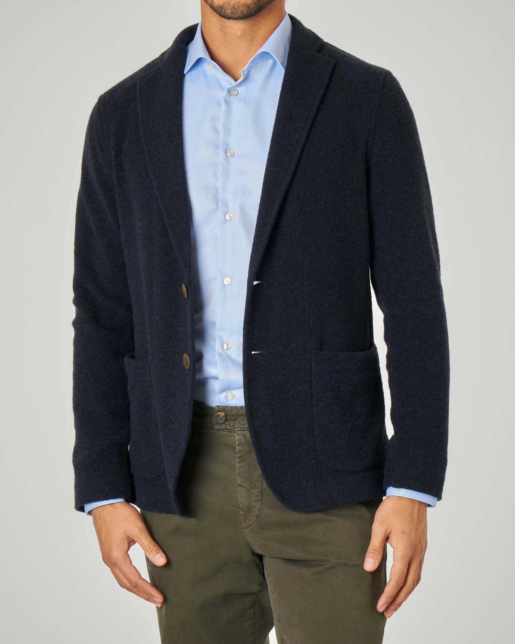 Giacca maglia blu tinta unita