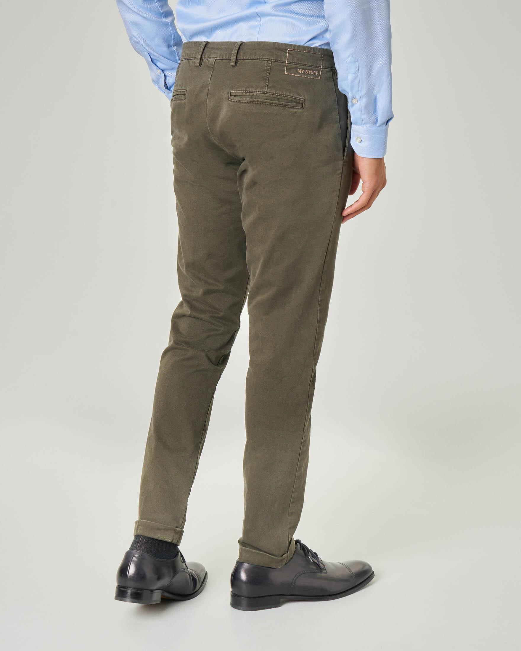 Chino tasca america color fango in gabardina stretch