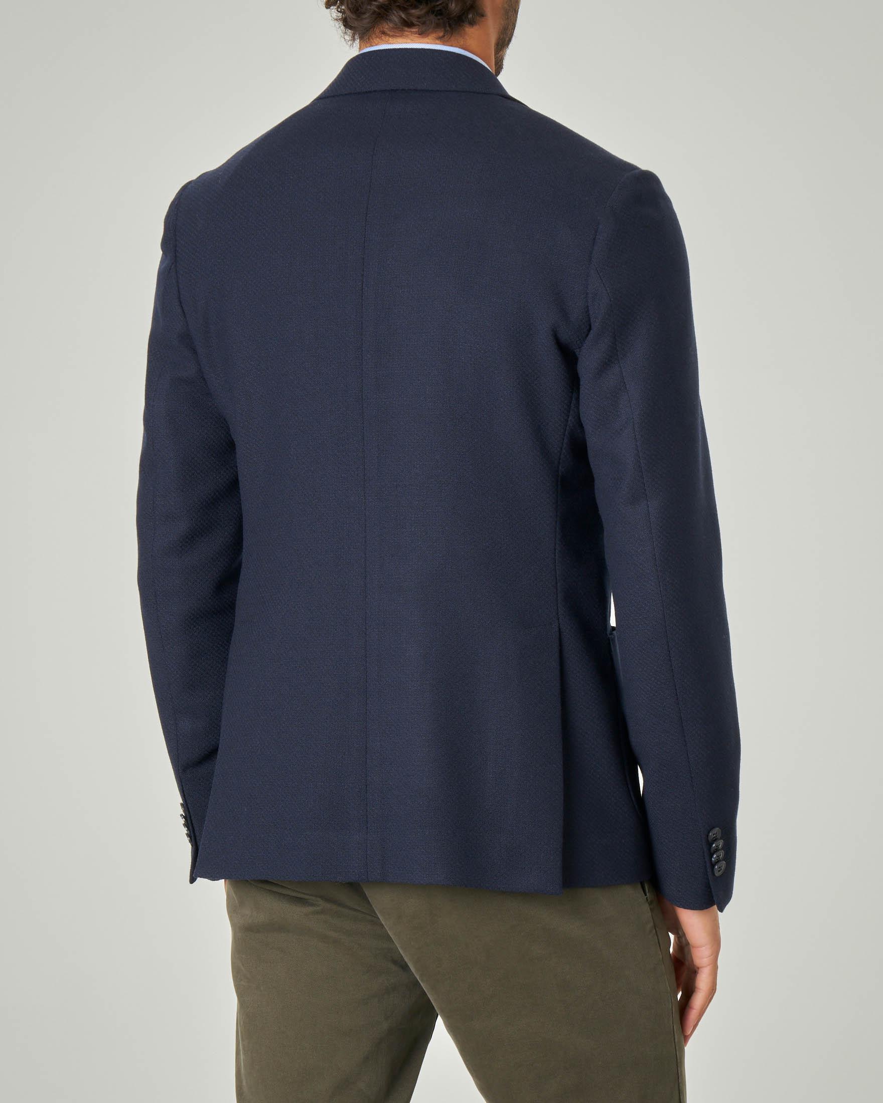 Blazer blu micro-armatura in tela di lana stretch